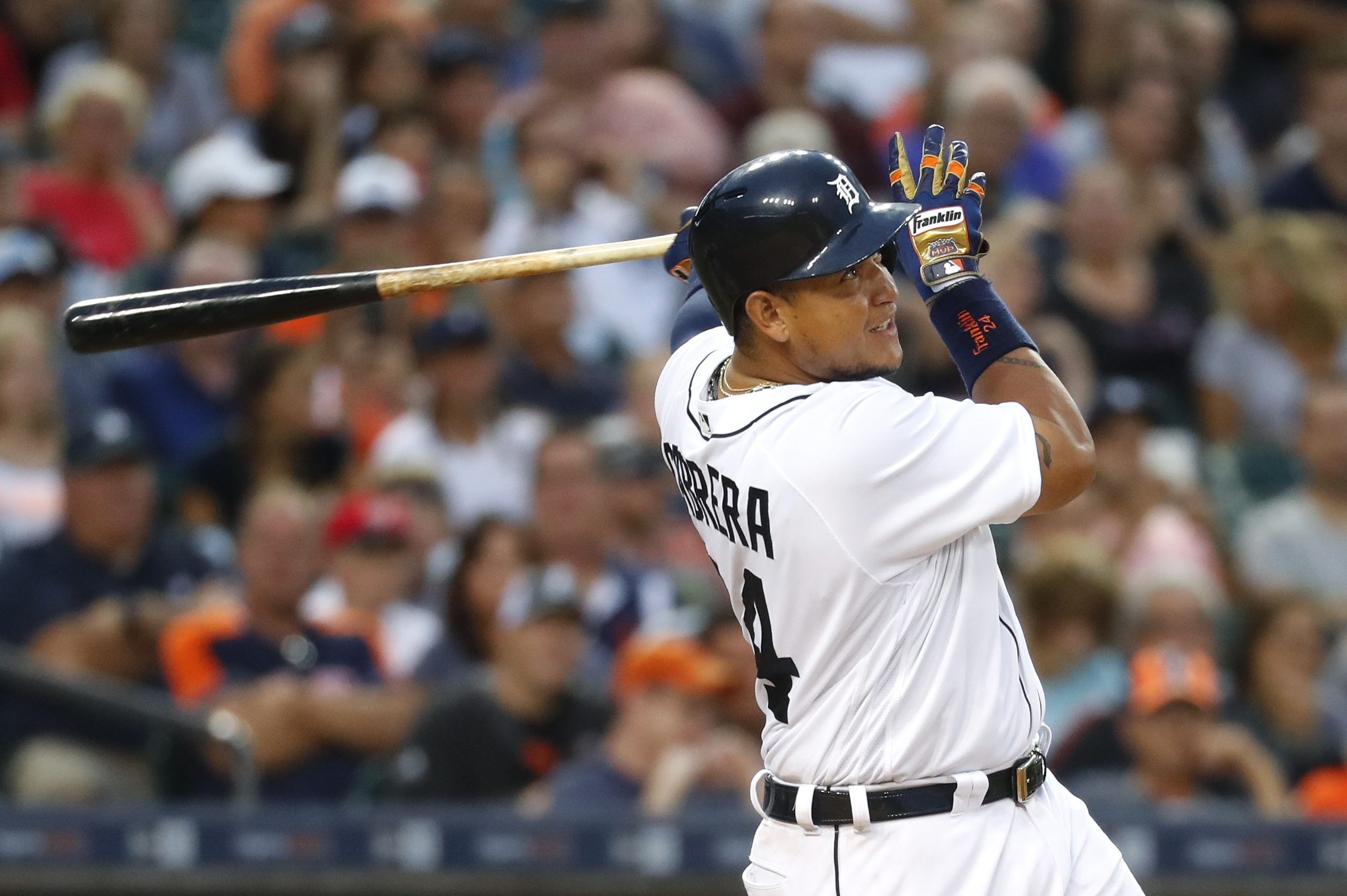 Detroit Tigers' Miguel Cabrera watches his fly ball to center field against the Kansas City Royals in the fourth inning of a baseball game, Monday, Aug. 15, 2016 in Detroit. Cabrera left the game after the flyout on the play. (AP Photo/Paul Sancya)