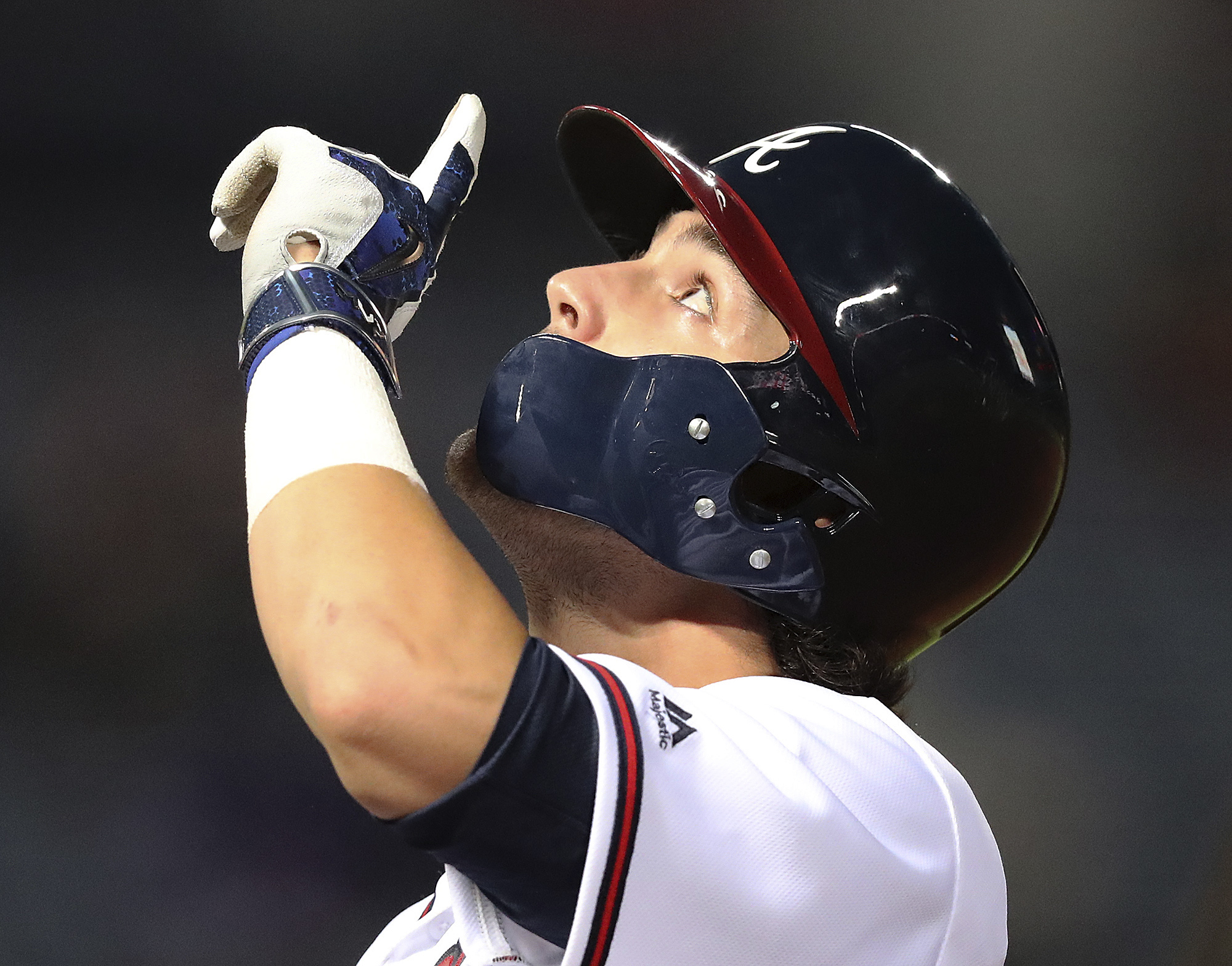 Atlanta Braves' Dansby Swanson reacts to getting his first hit in the majors, a single against the Minnesota Twins during the fourth inning of a baseball game Wednesday, Aug. 17, 2016, in Atlanta. (Curtis Compton/Atlanta Journal Constitution via AP)