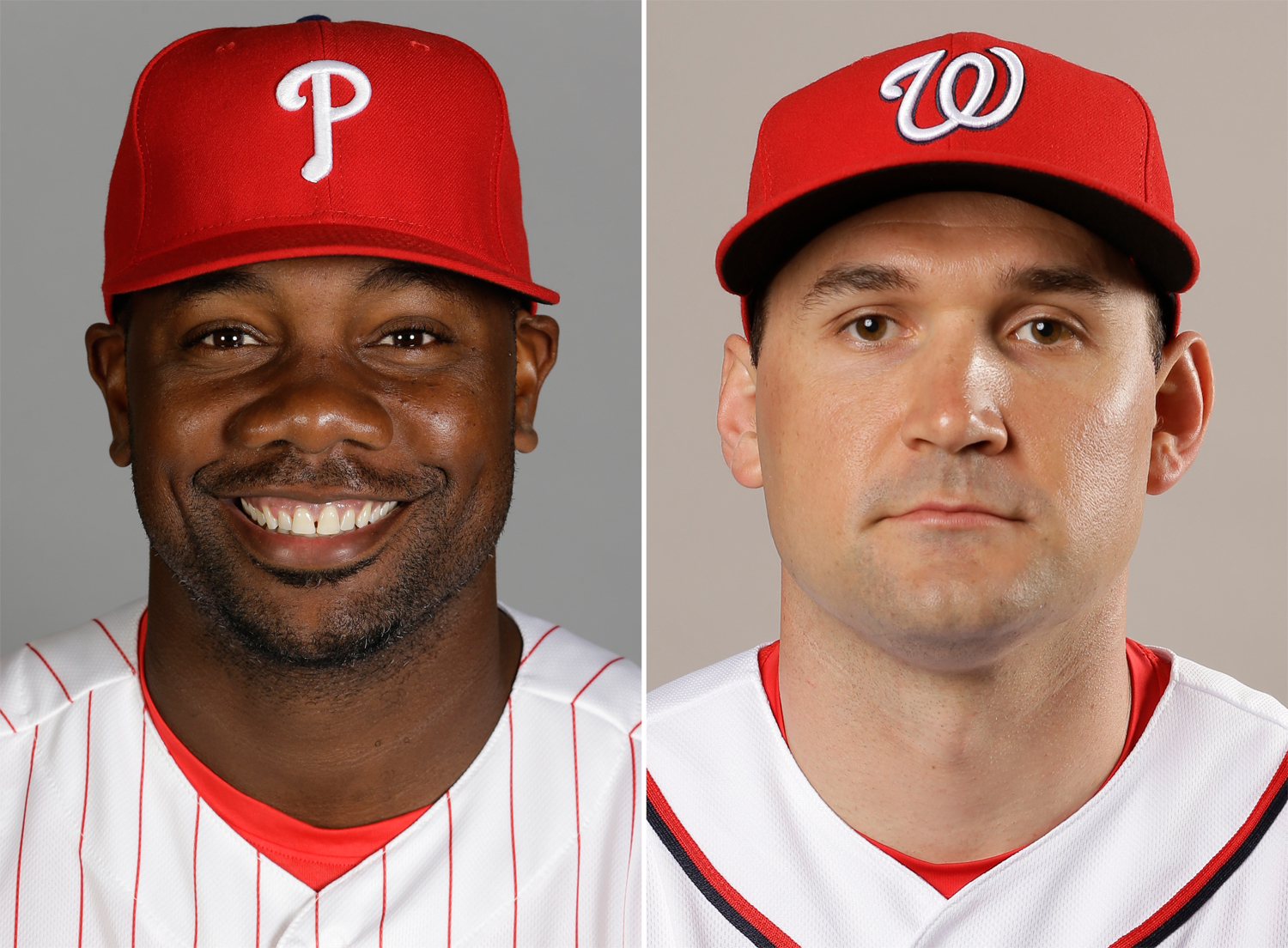 FILE - These are 2016 file photos showing Philadelphia Phillies' Ryan Howard, left, and Washington Nationals' Ryan Zimmerman. Howard and Zimmerman have been cleared by Major League Baseball of allegations they used human growth hormone. Pharmacist Charlie
