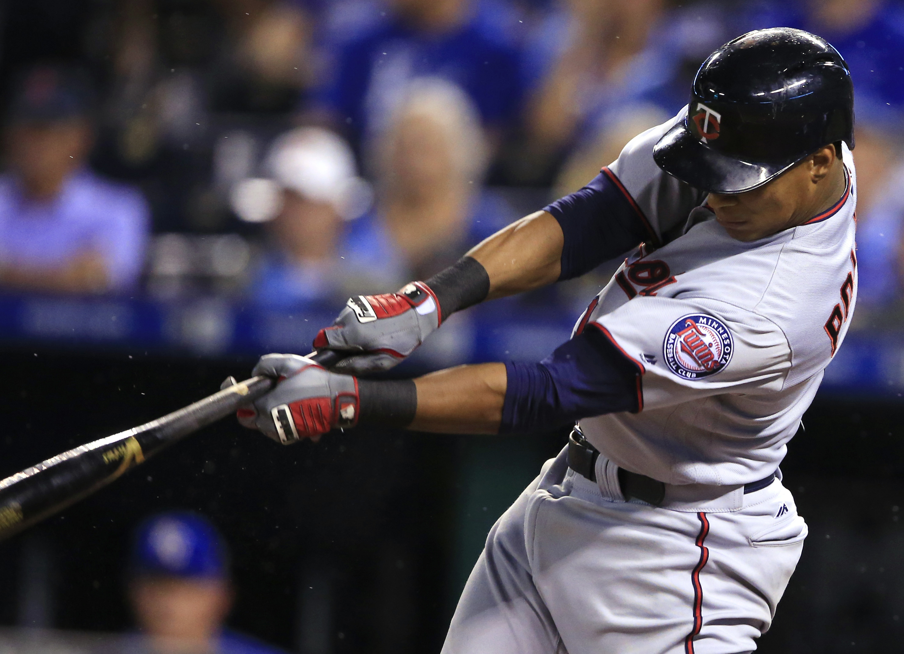 Minnesota Twins' Jorge Polanco hits a two-run double off Kansas City Royals starting pitcher Edinson Volquez during the fifth inning of a baseball game at Kauffman Stadium in Kansas City, Mo., Friday, Aug. 19, 2016. (AP Photo/Orlin Wagner)