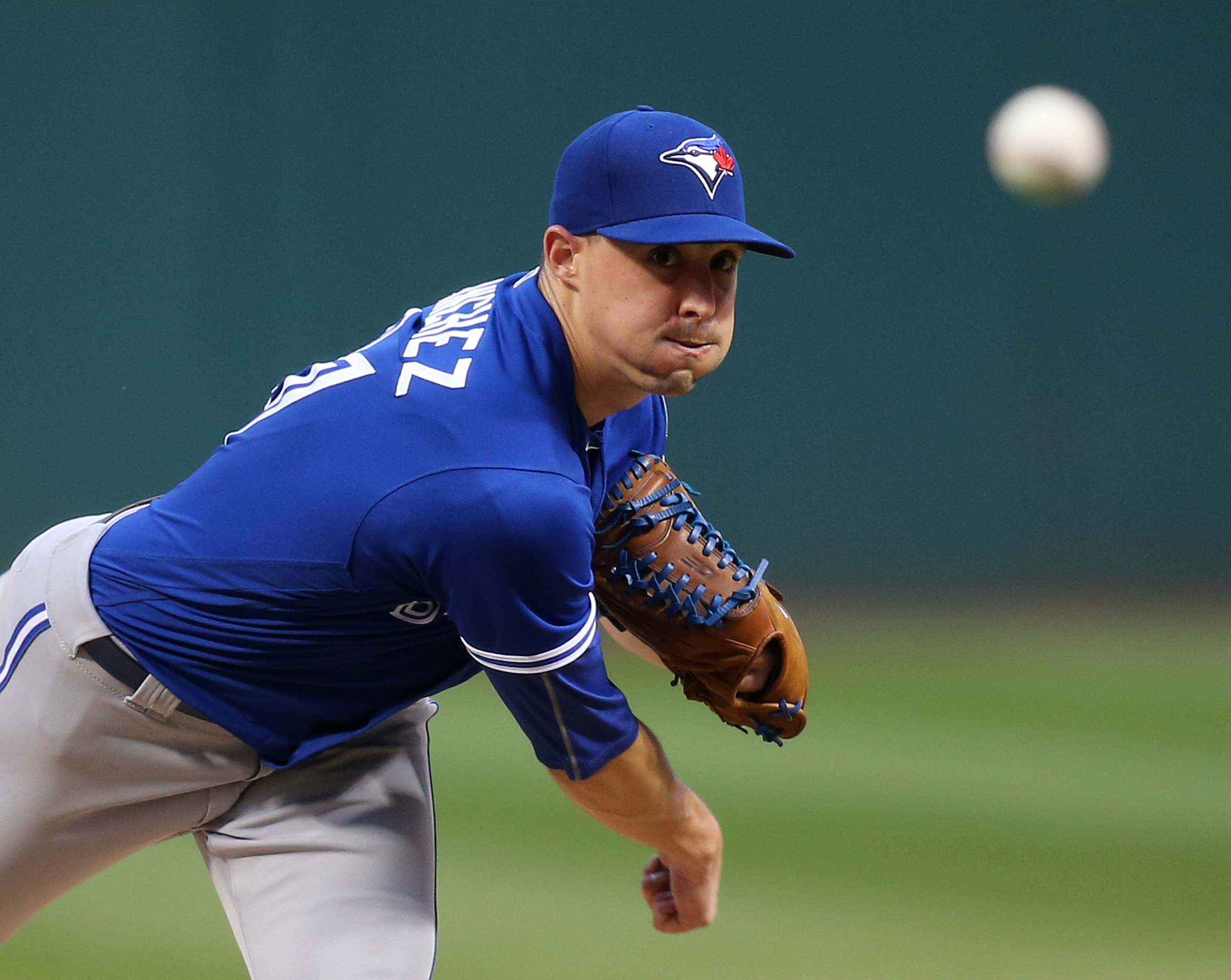 Toronto Blue Jays starting pitcher Aaron Sanchez throws during the first inning of a baseball game against the Cleveland Indians, Saturday, Aug. 20, 2016, in Cleveland. (AP Photo/Aaron Josefczyk)