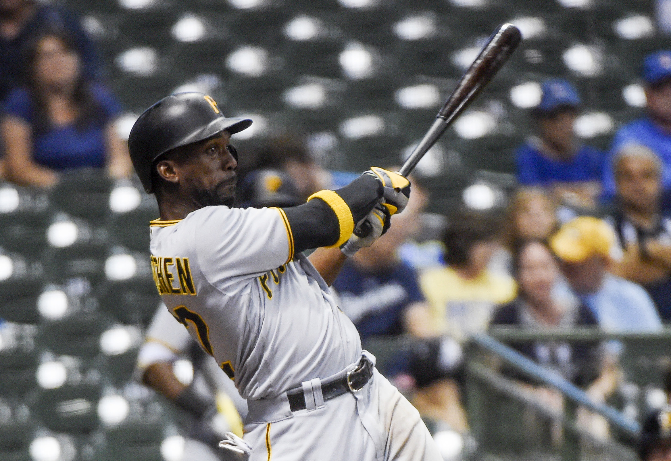 Pittsburgh Pirates' Andrew McCutchen drives in John Jaso with a base hit during the 10th inning of a baseball game against the Milwaukee Brewers on Thursday, Aug. 25, 2016, in Milwaukee. (AP Photo/Benny Sieu)