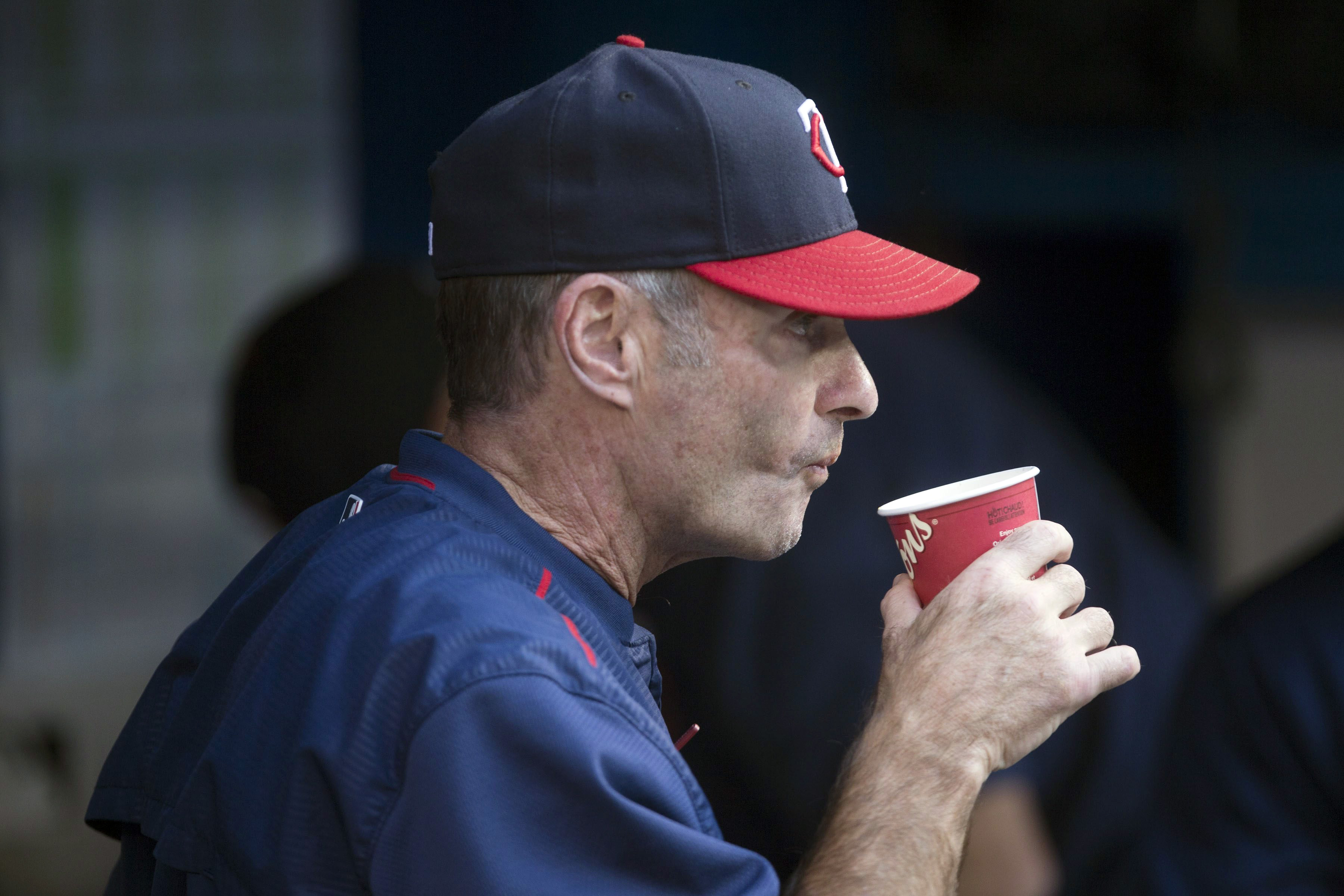Minnesota Twins manager Paul Molitor sits in the dugout before baseball game action against the Toronto Blue Jays in Toronto, Friday, Aug. 26, 2016. (Chris Young/The Canadian Press via AP)