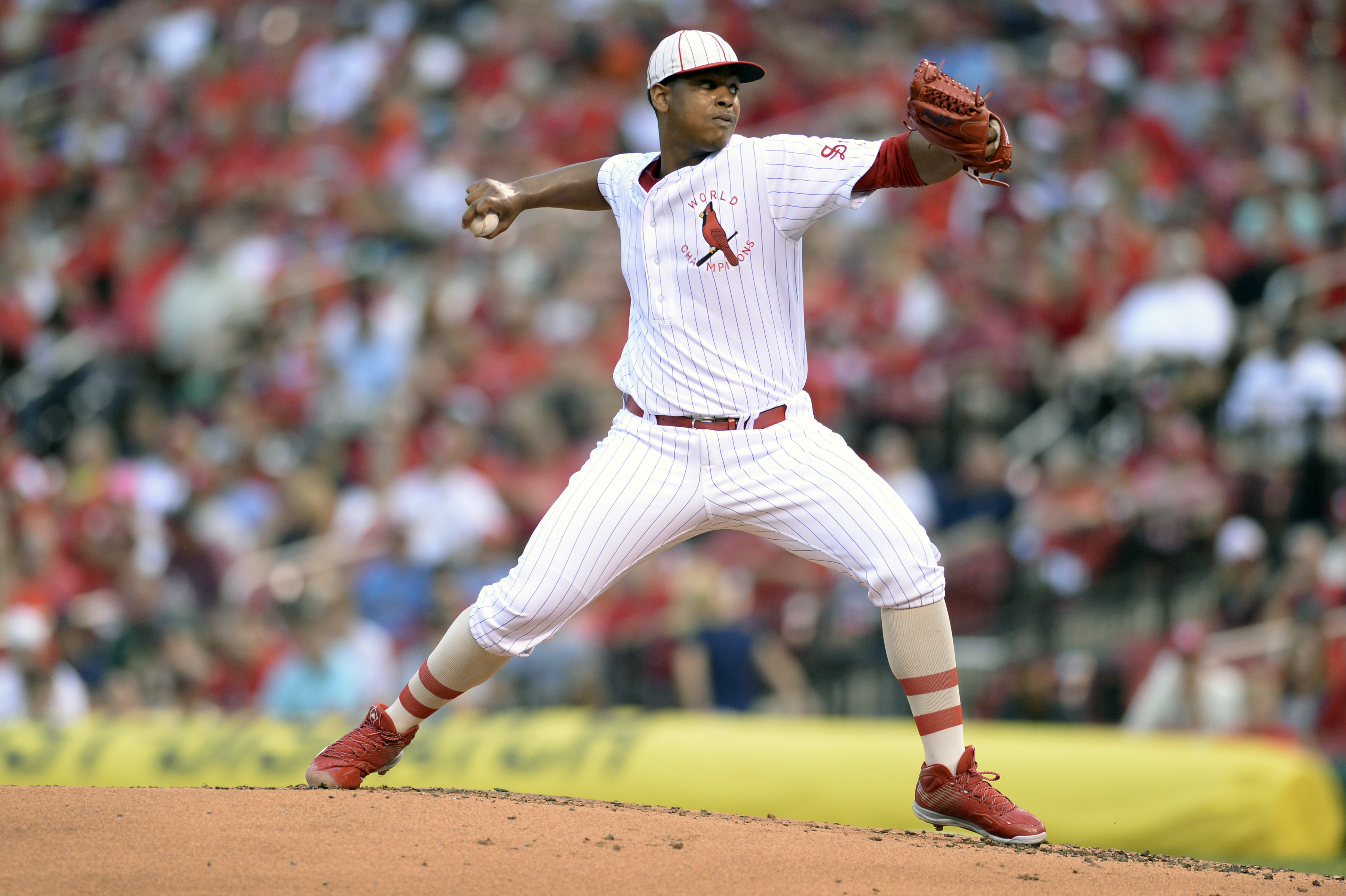 St. Louis Cardinals starting pitcher Alex Reyes (61) pitches against the Oakland Athletics during the second inning of a baseball game Saturday, Aug. 27, 2016, in St. Louis. (AP Photo/Michael Thomas)