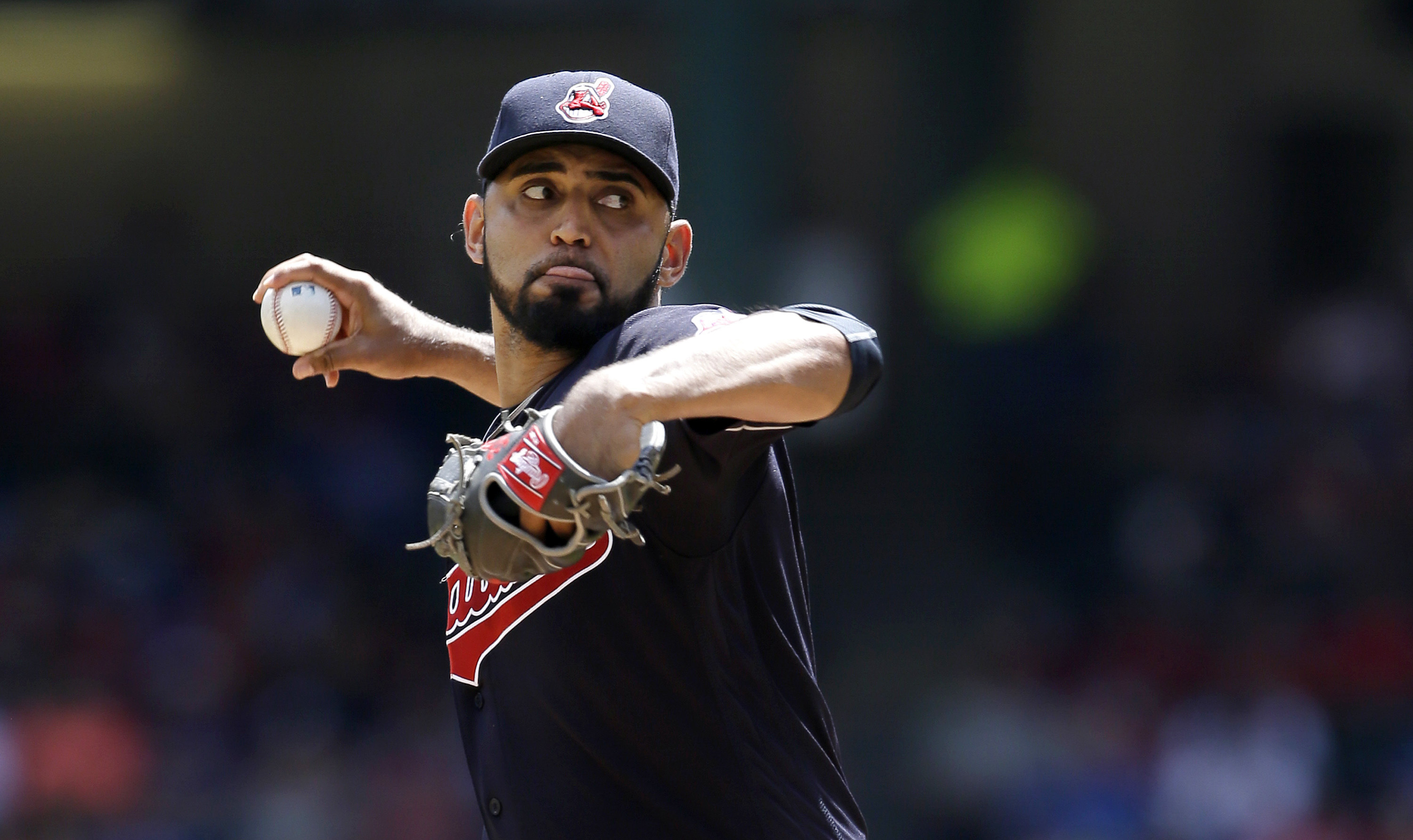 Cleveland Indians starting pitcher Danny Salazar throws during the first inning of a baseball game against the Texas Rangers in Arlington, Texas, Sunday, Aug. 28, 2016. (AP Photo/LM Otero)