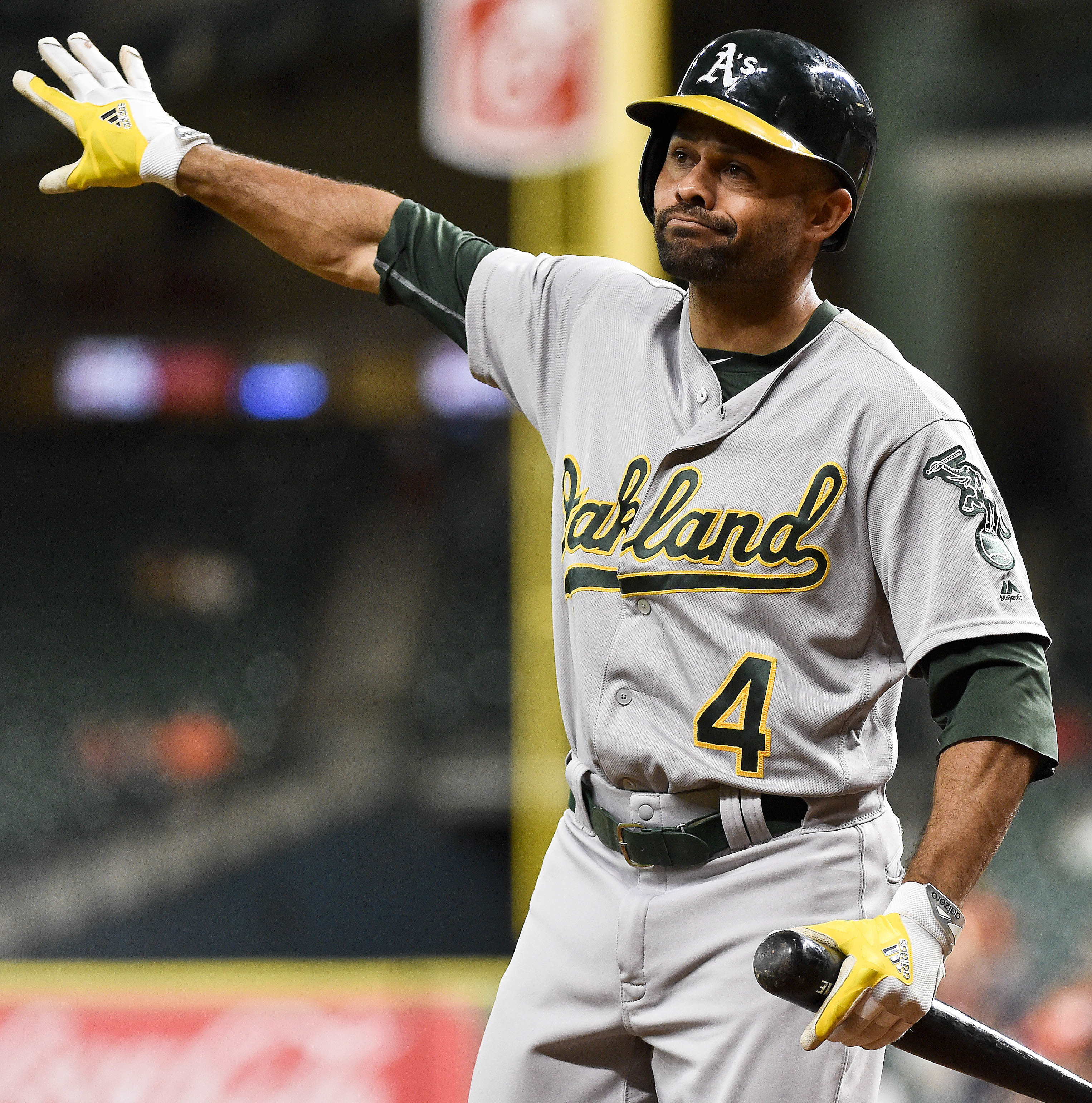 Oakland Athletics' Coco Crisp reacts after being called out on strikes in the first inning of a baseball game against the Houston Astros, Monday, Aug. 29, 2016, in Houston. (AP Photo/Eric Christian Smith)