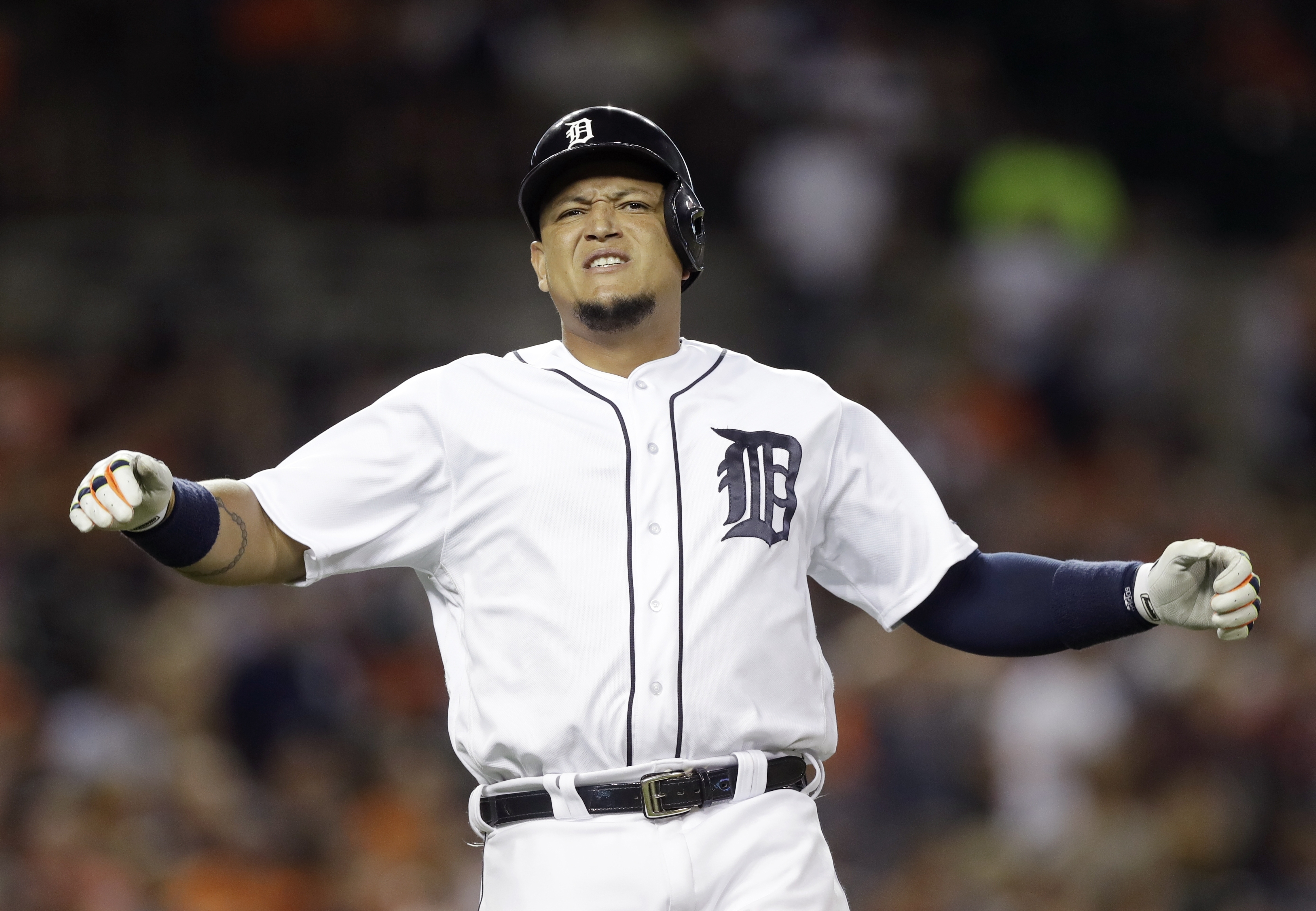 Detroit Tigers' Miguel Cabrera reacts after lining out during the fifth inning of a baseball game against the Chicago White Sox, Monday, Aug. 29, 2016, in Detroit. (AP Photo/Carlos Osorio)