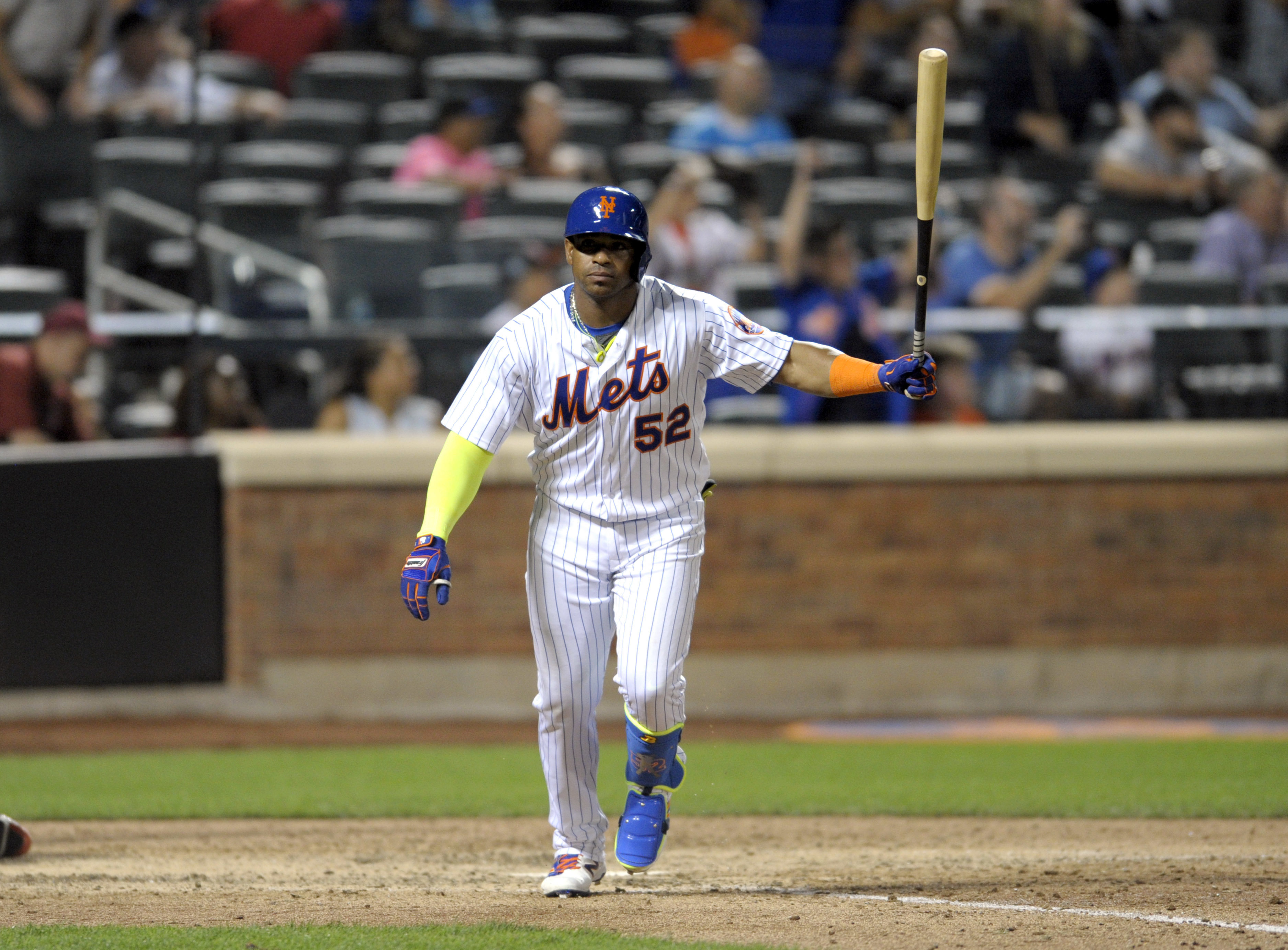 New York Mets' Yoenis Cespedes reacts after hitting a walk-off home run during the tenth inning of a baseball game against the Miami Marlins, Monday, Aug. 29, 2016 at Citi Field in New York. The Mets won 2-1. (AP Photo/Bill Kostroun)