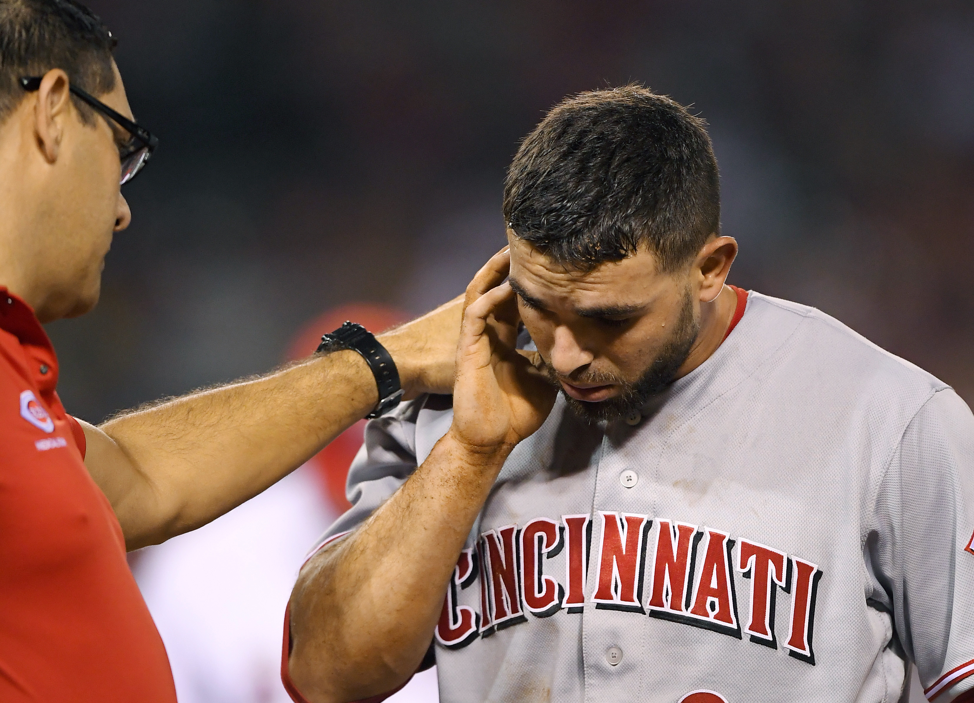 Cincinnati Reds' Jose Peraza, right, is attended to by a trainer after being hit in the head with a ball thrown by Los Angeles Angels starting pitcher Matt Shoemaker while trying to dive back to first during the third inning of a baseball game, Monday, Au