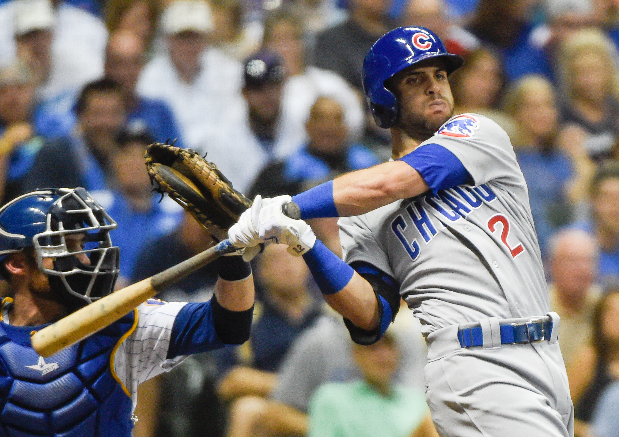 FILE - In this July 22, 2016, file photo, Chicago Cubs' Tommy La Stella bats during the eighth inning of a baseball game against the Milwaukee Brewers, in Milwaukee. Cubs infielder Tommy La Stella has refused to report to Triple-A Iowa after being optione
