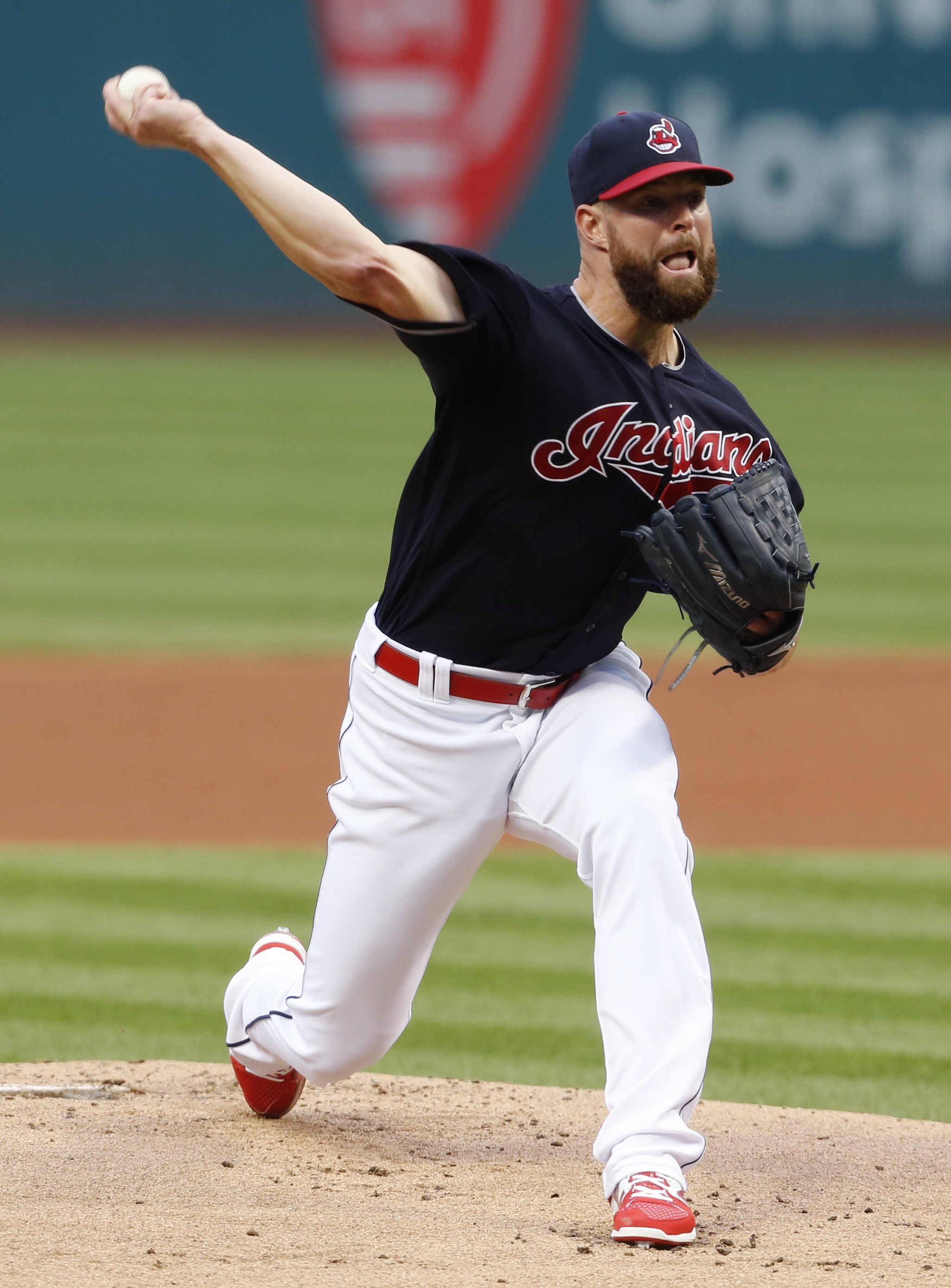 Cleveland Indians starting pitcher Corey Kluber delivers against the Minnesota Twins during the first inning of a baseball game Wednesday, Aug. 31, 2016, in Cleveland. (AP Photo/Ron Schwane)