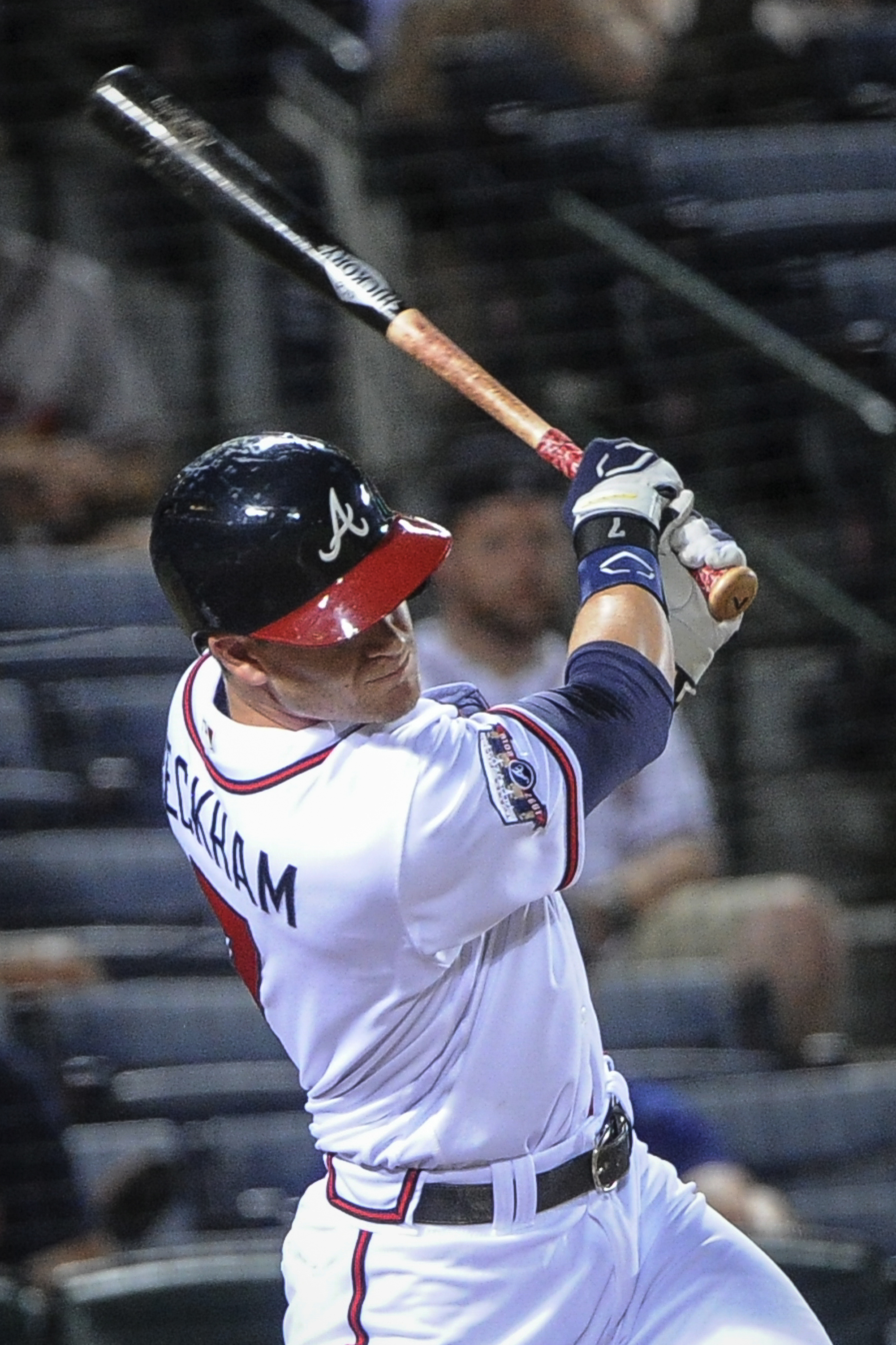 Atlanta Braves' Gordon Beckham hits a two-run double during the sixth inning of a baseball game against the San Diego Padres, Wednesday, Aug. 31, 2016, in Atlanta. (AP Photo/John Amis)