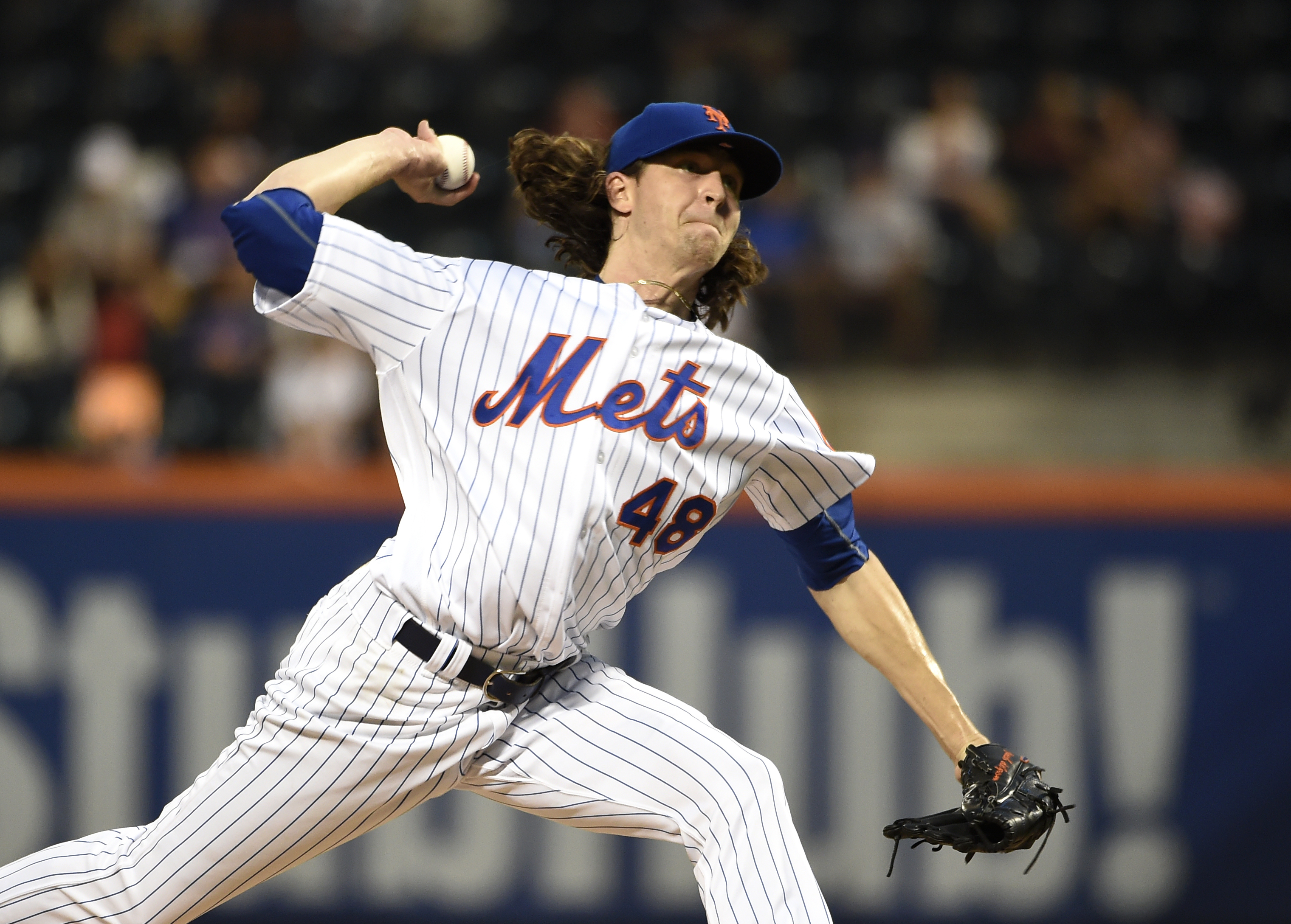 New York Mets starting pitcher Jacob deGrom delivers against the Miami Marlins in the first inning of a baseball game, Thursday, Sept. 1, 2016, in New York. (AP Photo/Kathy Kmonicek)