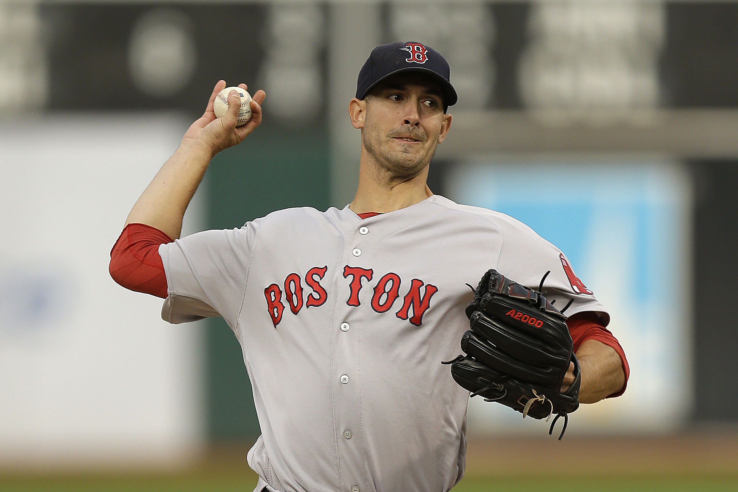 Boston Red Sox pitcher Rick Porcello works against the Oakland Athletics in the first inning of a baseball game Saturday, Sept. 3, 2016, in Oakland, Calif. (AP Photo/Ben Margot)