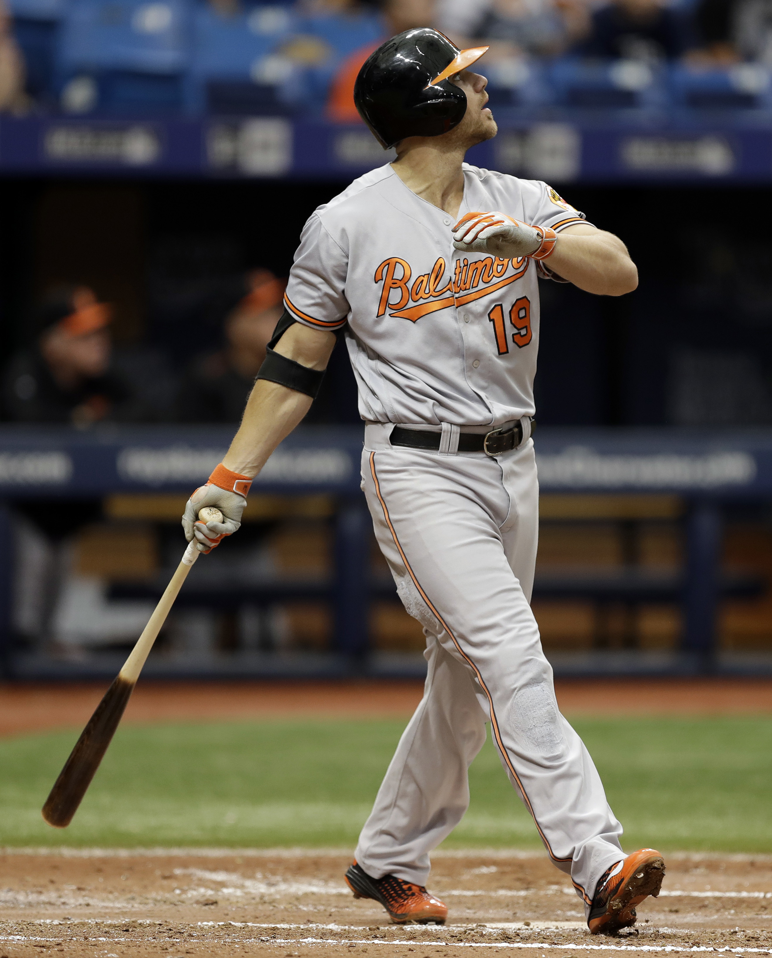 Baltimore Orioles' Chris Davis watches his home run off Tampa Bay Rays starting pitcher Matt Andriese during the fifth inning of a baseball game Monday, Sept. 5, 2016, in St. Petersburg, Fla. (AP Photo/Chris O'Meara)
