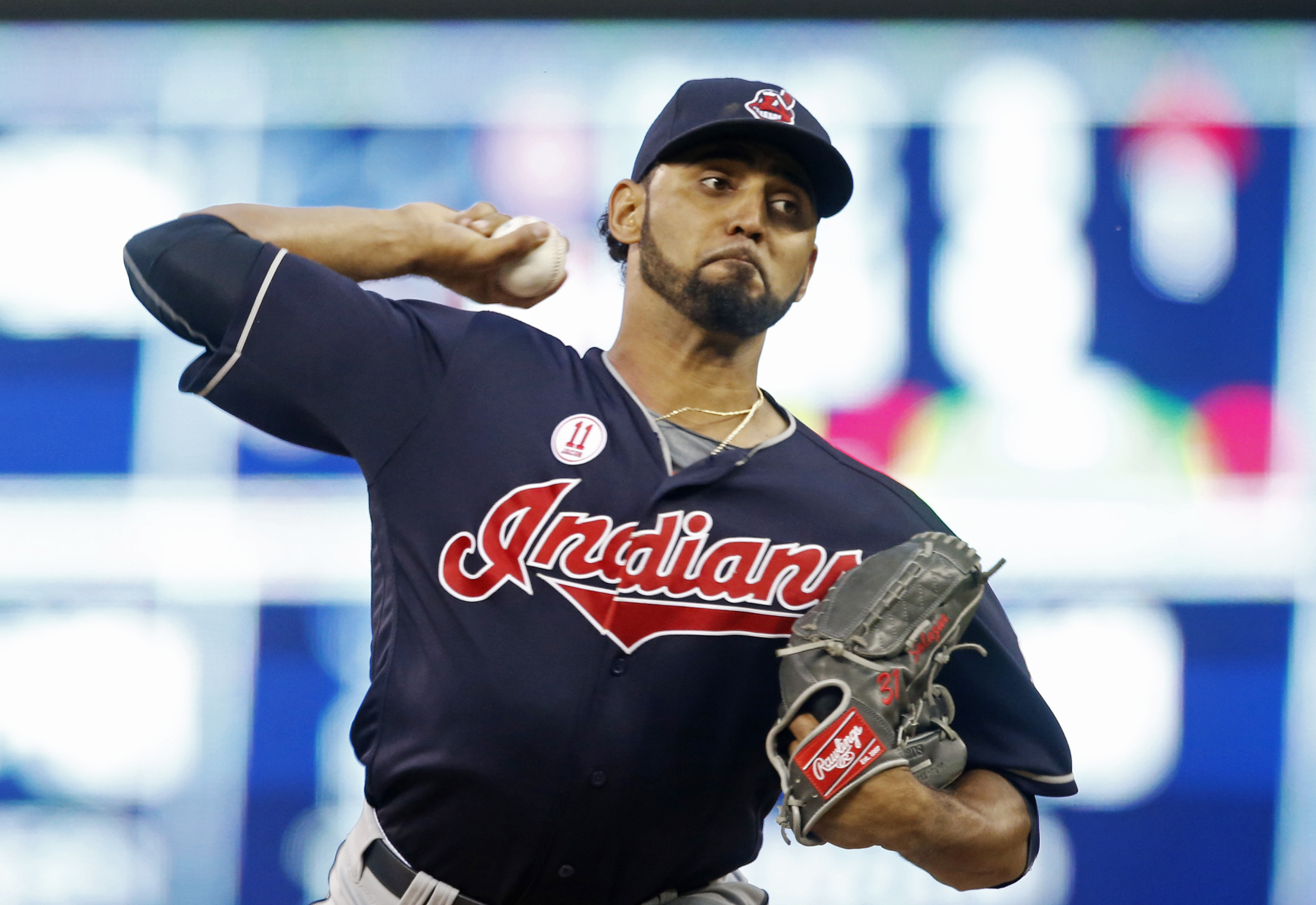 Cleveland Indians pitcher Danny Salazar throws against the Minnesota Twins during the first inning of a baseball game Friday, Sept. 9, 2016, in Minneapolis. (AP Photo/Jim Mone)