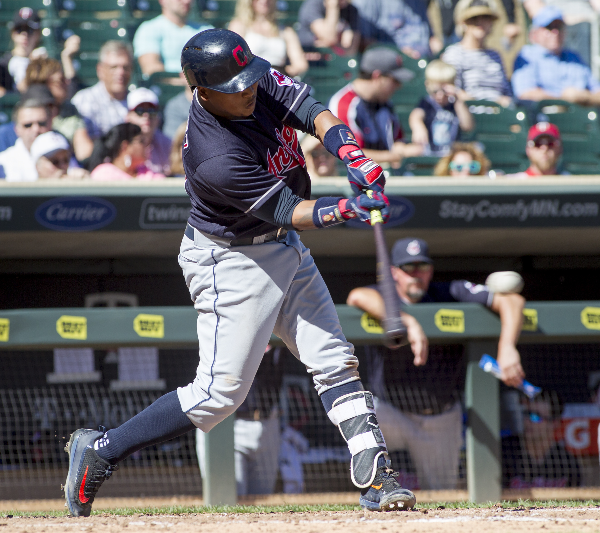 Cleveland Indians' Jose Ramirez (11) singles against the Minnesota Twins during the fourth inning of a baseball game, Sunday, Sept. 11, 2016, in Minneapolis. (AP Photo/Paul Battaglia)