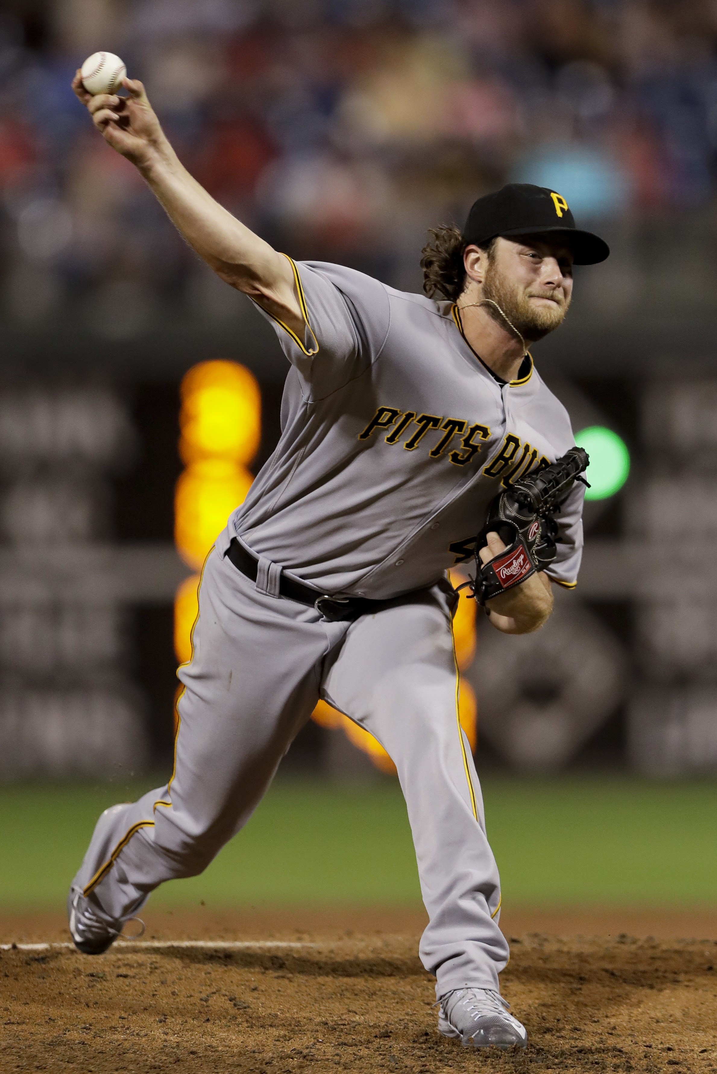 Pittsburgh Pirates starting pitcher Gerrit Cole pitches during the second inning of a baseball game against the Philadelphia Phillies, Monday, Sept. 12, 2016, in Philadelphia. (AP Photo/Matt Slocum)