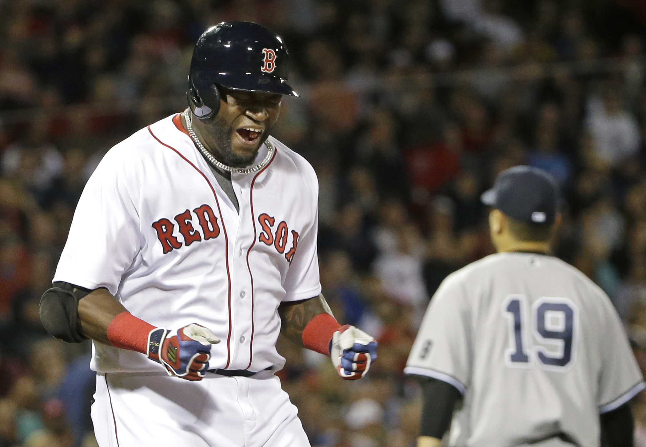 Boston Red Sox designated hitter David Ortiz reacts after grounding out against New York Yankees starting pitcher Masahiro Tanaka (19) to end the fifth inning of a baseball game at Fenway Park, Thursday, Sept. 15, 2016, in Boston. (AP Photo/Elise Amendola