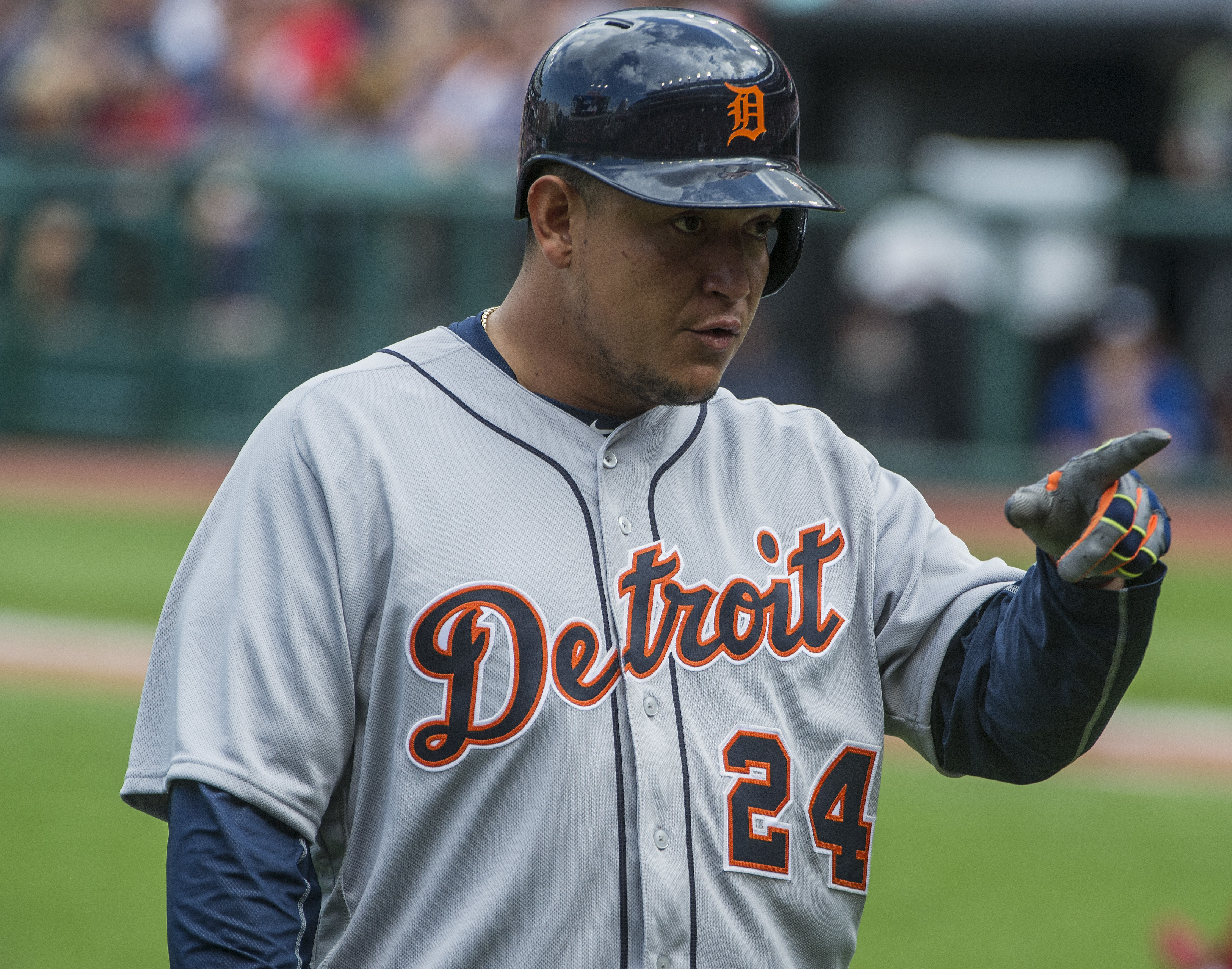 Detroit Tigers' Miguel Cabrera points at the Cleveland Indians dugout after being hit by a pitch from Indians' Trevor Bauer during the first a baseball game in Cleveland, Sunday, Sept. 18, 2016. (AP Photo/Phil Long)