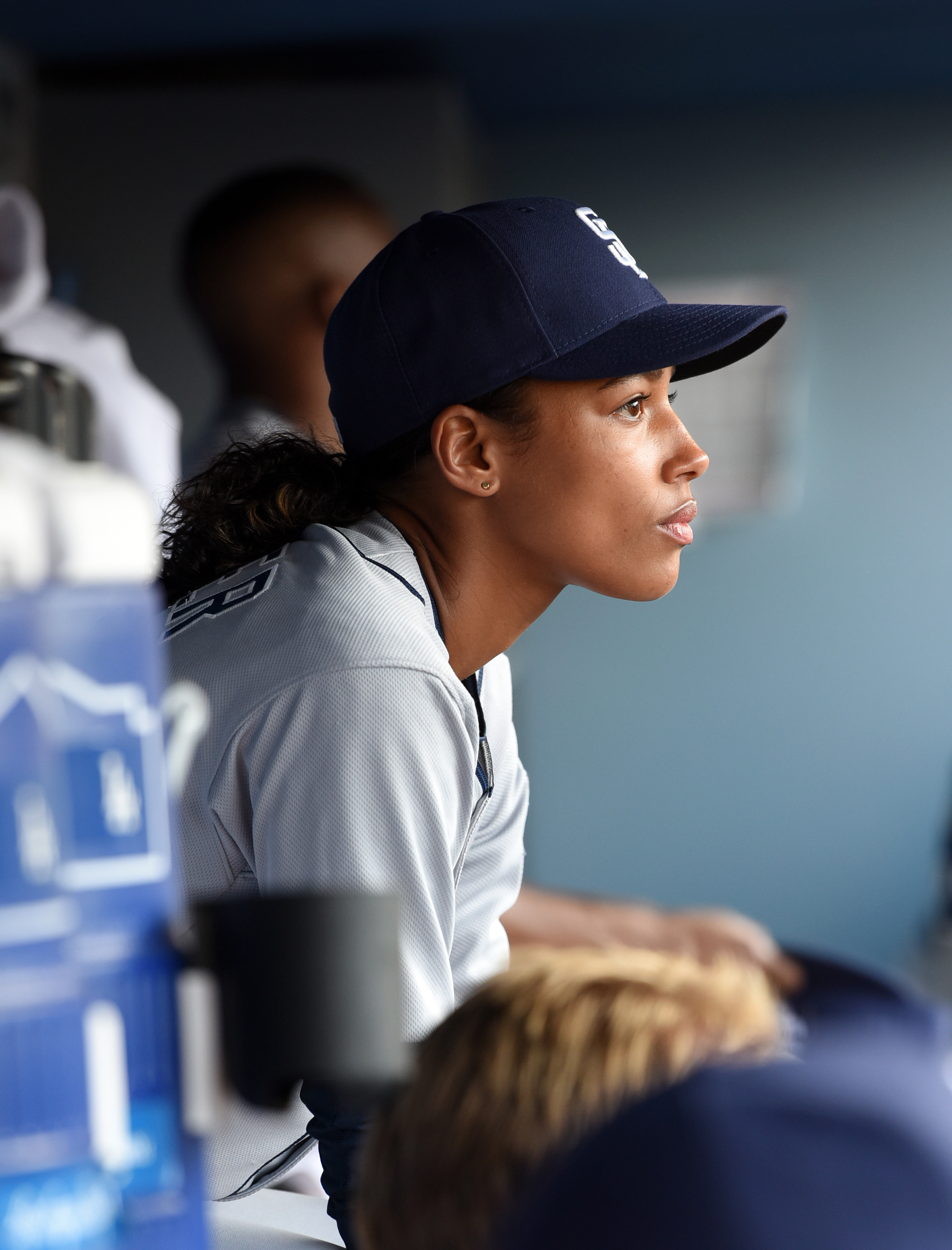 """In this photo provided by FOX, actress Kylie Bunbury is shown in the """"The Interim"""" episode of """"Pitch"""" which is airing Thursday, Sept. 29, 2016. Remarkably, the lead actress and lead writer of """"Pitch"""" have been asked by strangers whether the Fox TV series"""