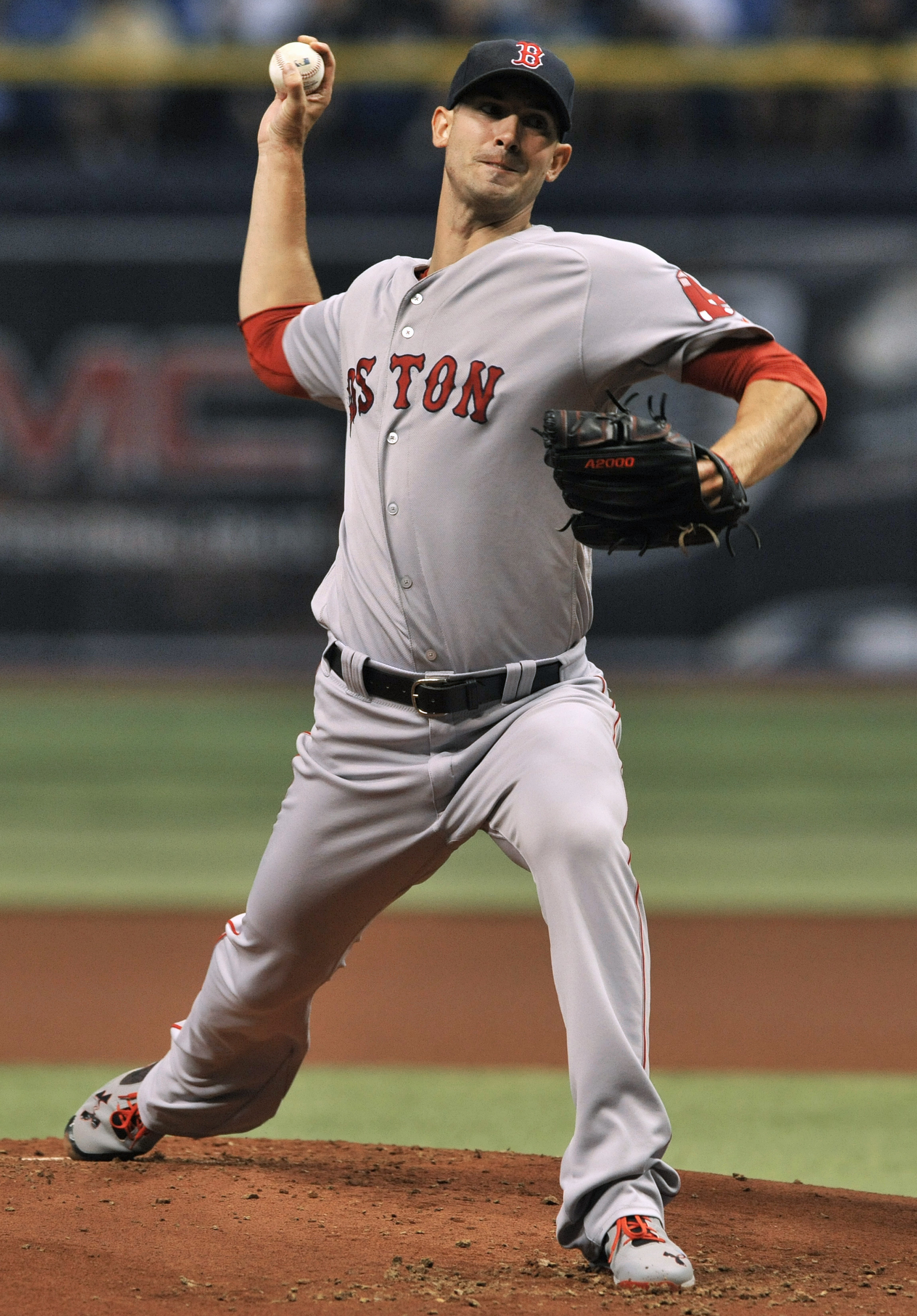 Boston Red Sox starter Rick Porcello pitches against the Tampa Bay Rays during the first inning of a baseball game Saturday, Sept. 24, 2016, in St. Petersburg, Fla. (AP Photo/Steve Nesius)