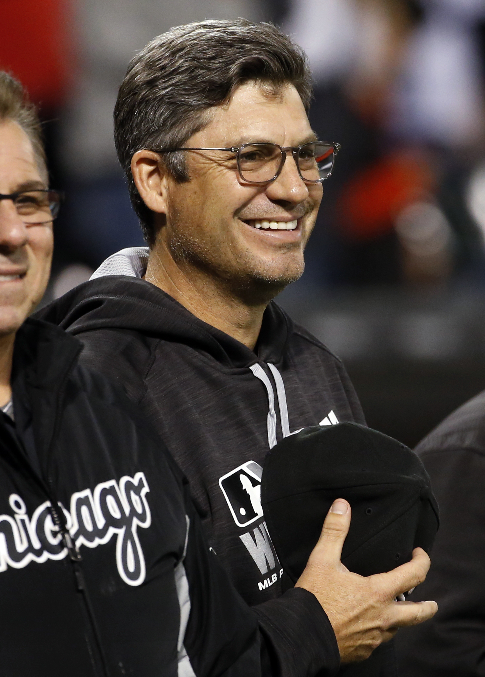 Chicago White Sox manager Robin Ventura smiles during the national anthem before a baseball game against the Tampa Bay Rays, Thursday, Sept. 29, 2016, in Chicago. (AP Photo/Nam Y. Huh)