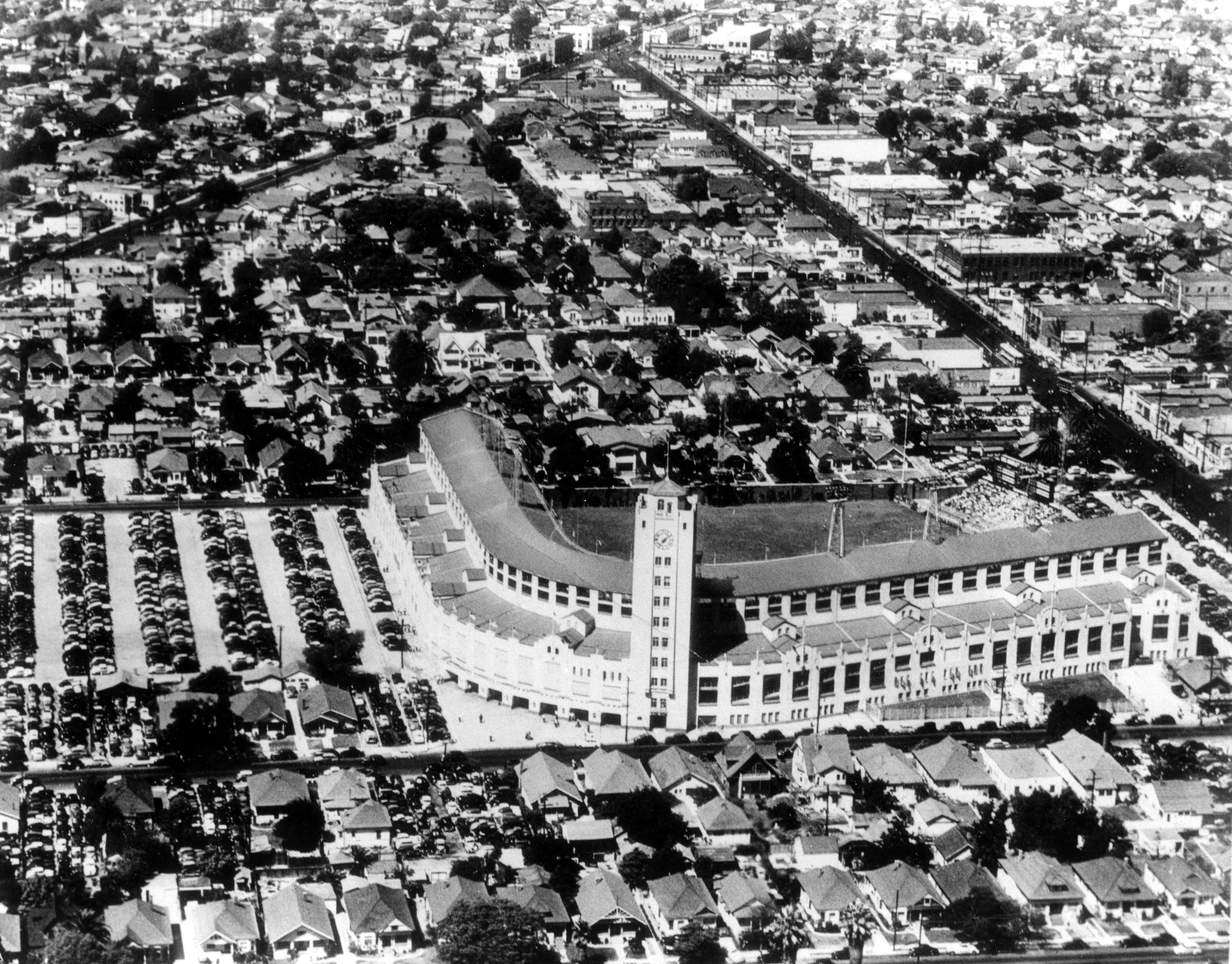 This March 21, 1961, file photo, shows an aerial view of Wrigley Field baseball stadium  in Los Angeles. Far less famous than its namesake stadium in Chicago, this was another minor-league park that was temporary home for the expansion Los Angeles Angels