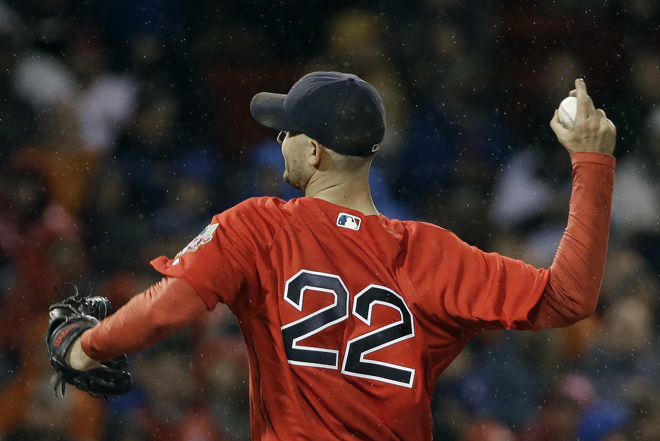 Boston Red Sox starting pitcher Rick Porcello delivers to the Toronto Blue Jays during the second inning of a baseball game at Fenway Park, Friday, Sept. 30, 2016, in Boston. (AP Photo/Elise Amendola)