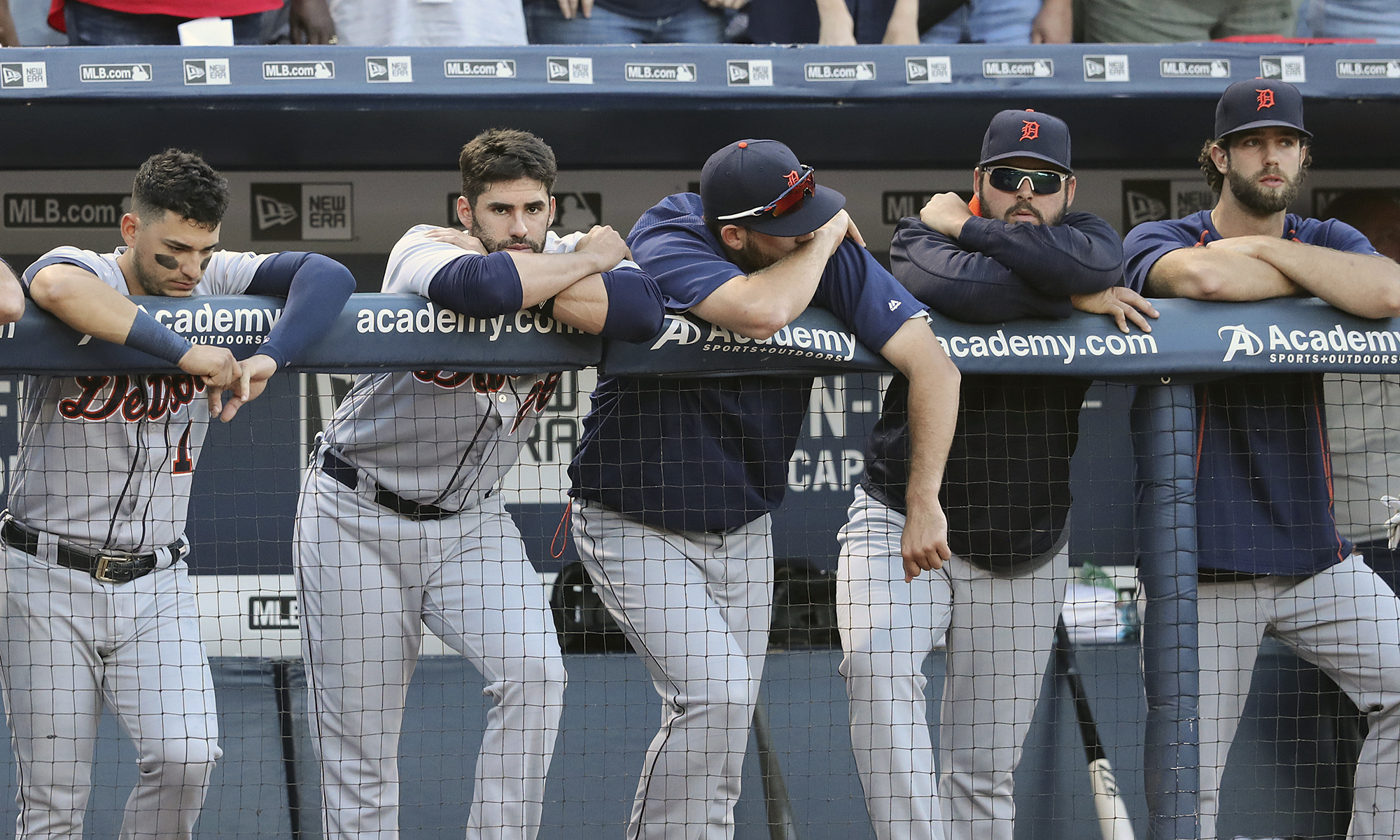 Detroit Tigers players react in the dugout as the Tigers' Justin Upton strikes out in the ninth inning to fall to the Braves 1-0 at Turner Field, Sunday, Oct. 2, 2016, in Atlanta. (Curtis Compton/Atlanta Journal-Constitution via AP)