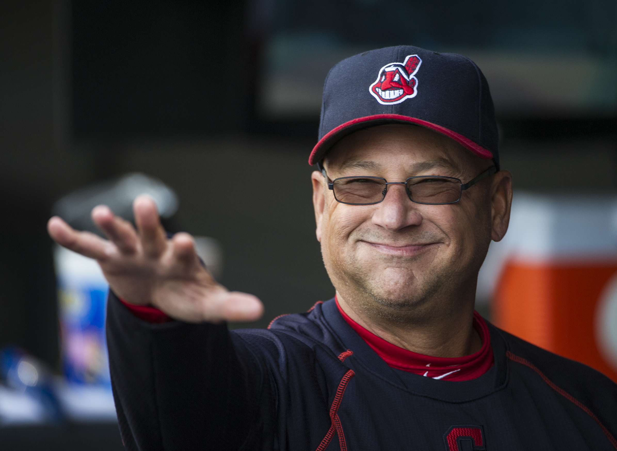 FILE - In this April 20, 2016, file photo, Cleveland Indians manager Terry Francona reacts to fans before a baseball game against the Seattle Mariners, in Cleveland.  While most of America gushes over the Chicago Cubs and their quest at ending a 108-year
