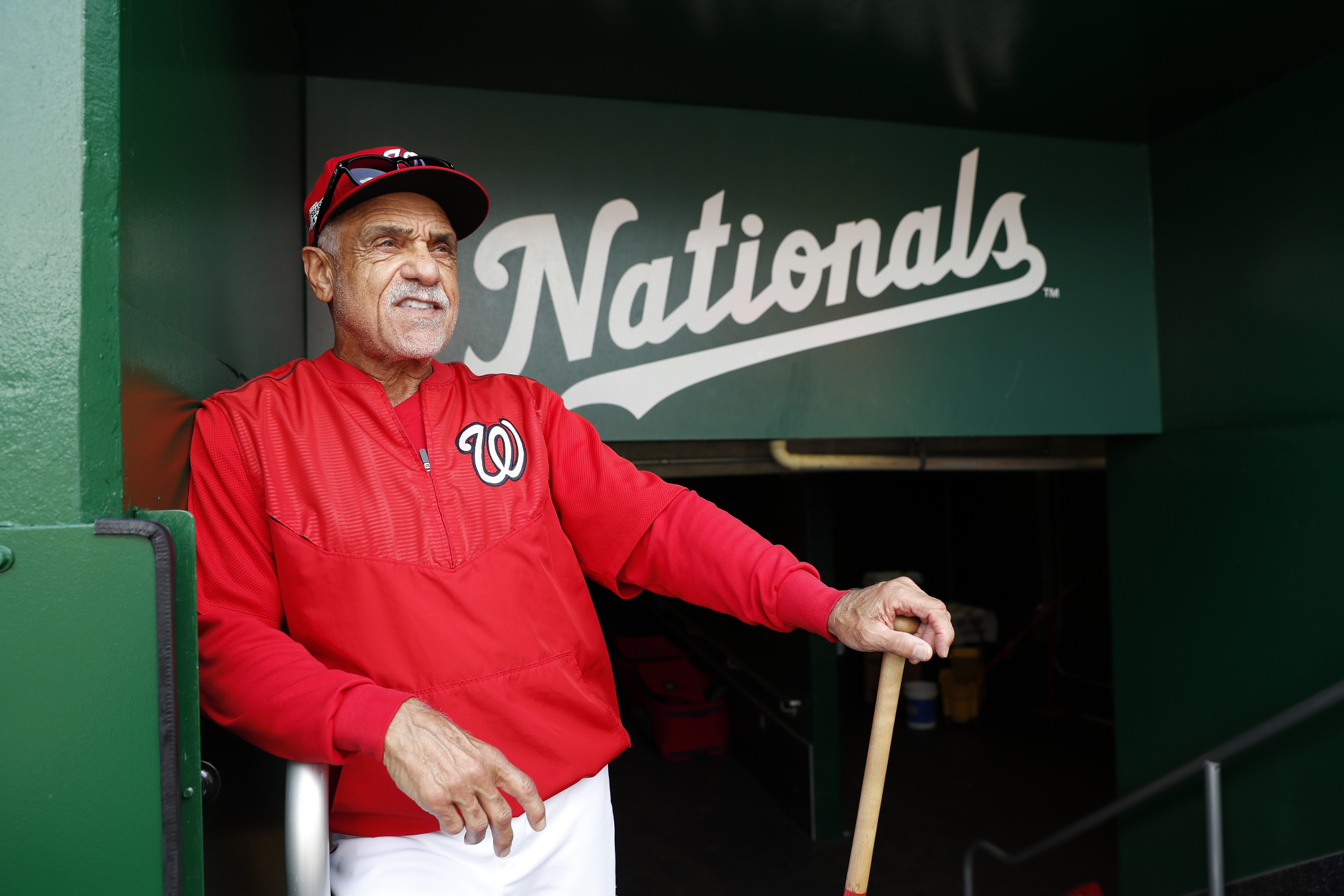 Washington Nationals first base coach Davey Lopes pauses during baseball batting practice at Nationals Park, Tuesday, Oct. 4, 2016, in Washington. The Nationals host the Los Angeles Dodgers in Game 1 of the National League Division Series on Friday. AP Ph