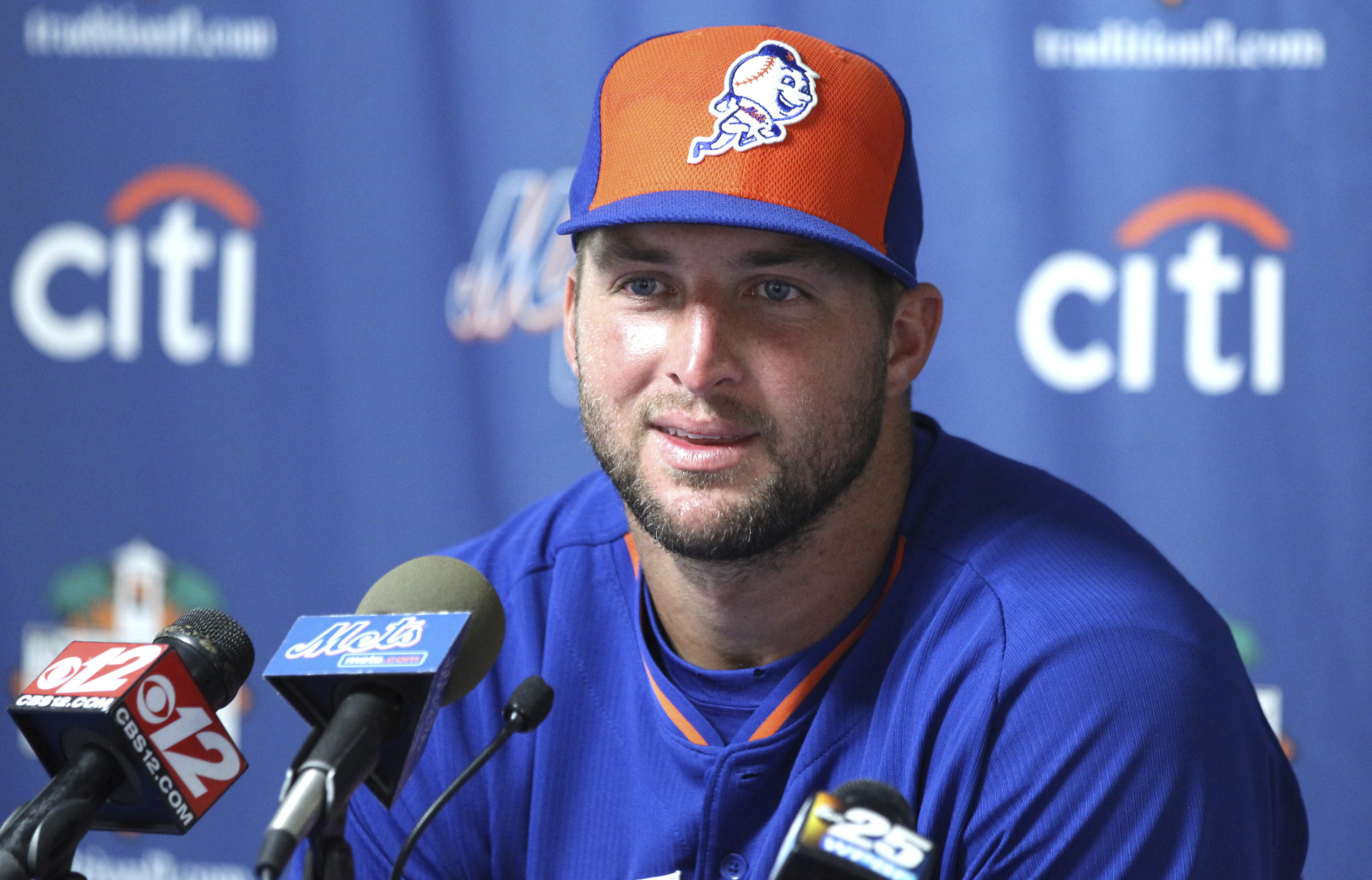 FILE - This Sept. 28, 2016 file photo shows Tim Tebow talking during a news conference after his first instructional league baseball game for the New York Mets against the St. Louis Cardinals instructional club in Port St. Lucie, Fla. Tebow will test his