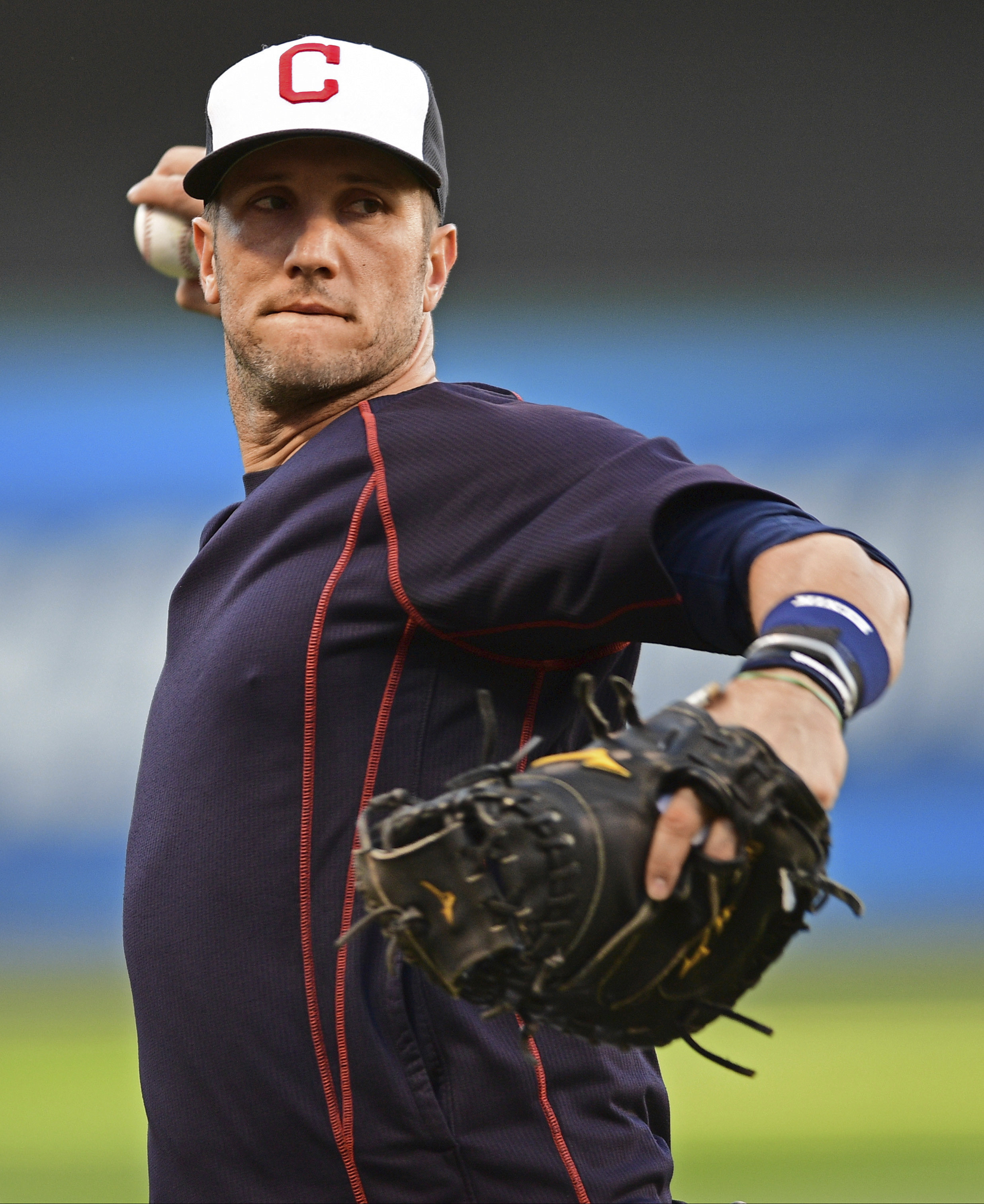 Cleveland Indians' Yan Gomes throws a ball during an infield team workout, Tuesday Oct. 4, 2016, in Cleveland. The Indians start the American League Divisional Series against the Boston Red Sox on Thursday in Cleveland. (AP Photo/David Dermer)