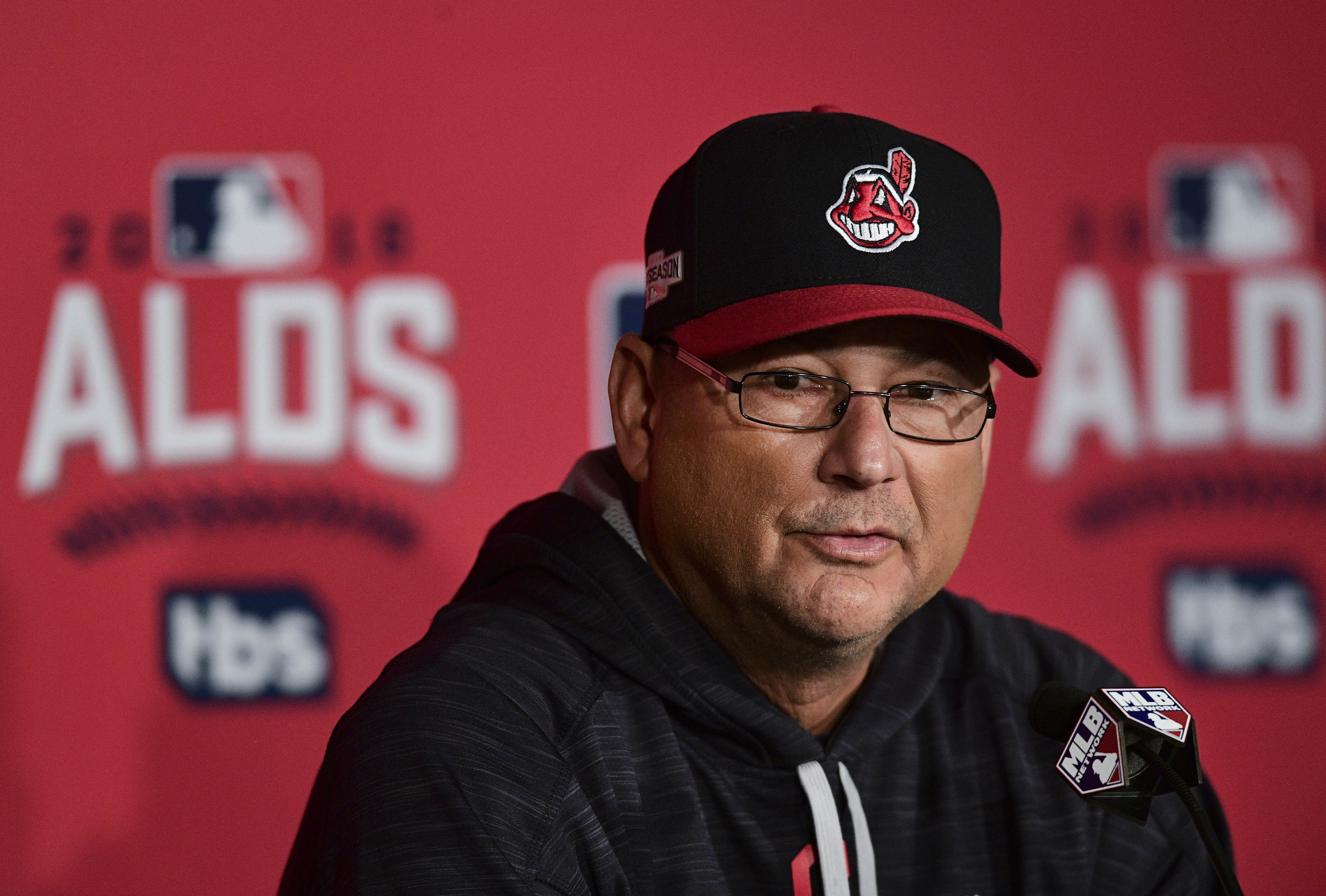 Cleveland Indians manager Terry Francona listens to a question from the media before practice in Cleveland, Wednesday, Oct. 5, 2016. Cleveland meets the Boston Red Sox in Game 1 of the American League Division Series of baseball Thursday. (AP Photo/David