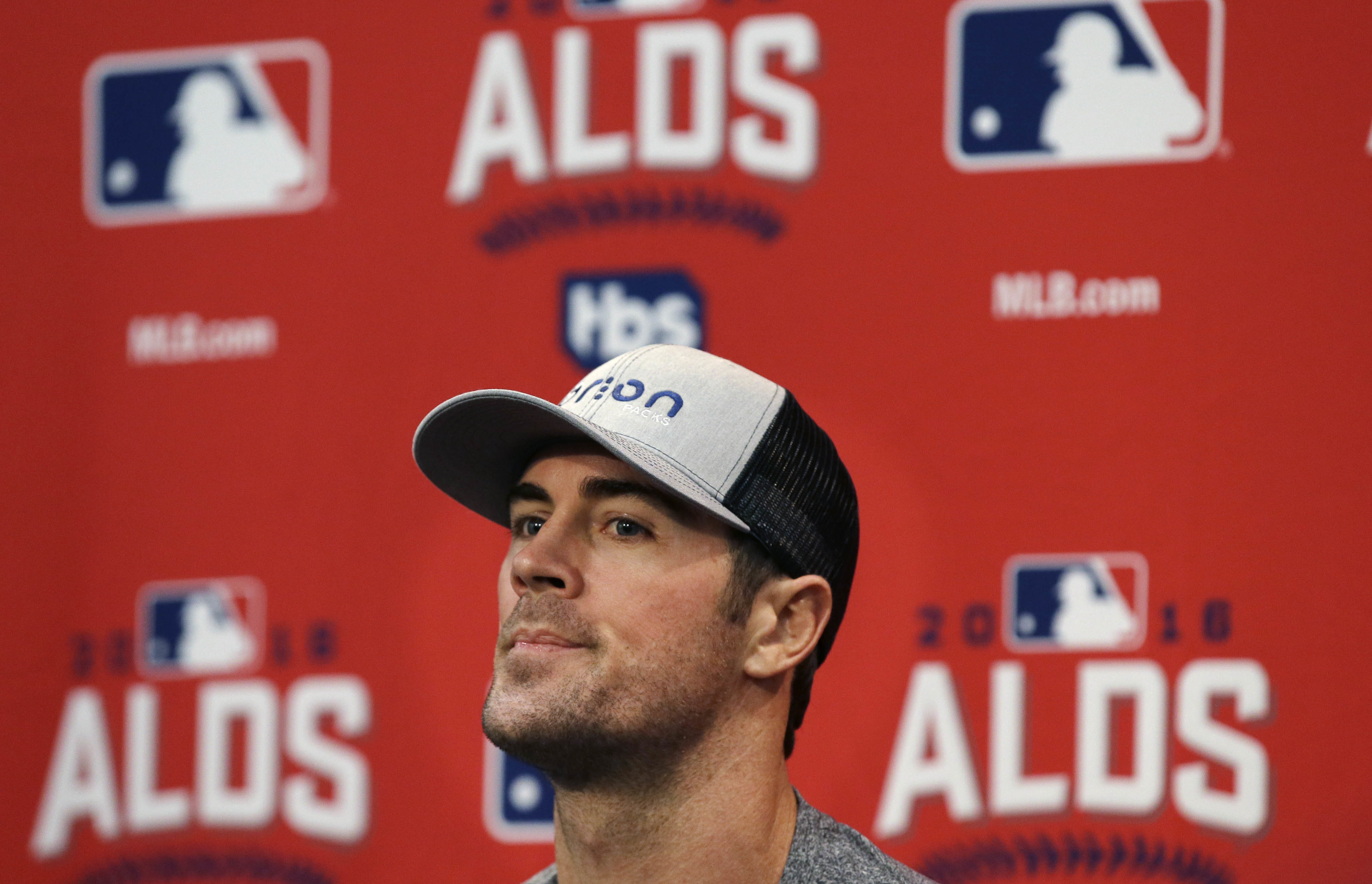 Texas Rangers starting pitcher Cole Hamels listens to a question during a news conference before Game 1 of the American League Division Series of baseball in Arlington, Texas, Wednesday, Oct. 5, 2016. Hamels will start against the Blue Jays. (AP Photo/LM