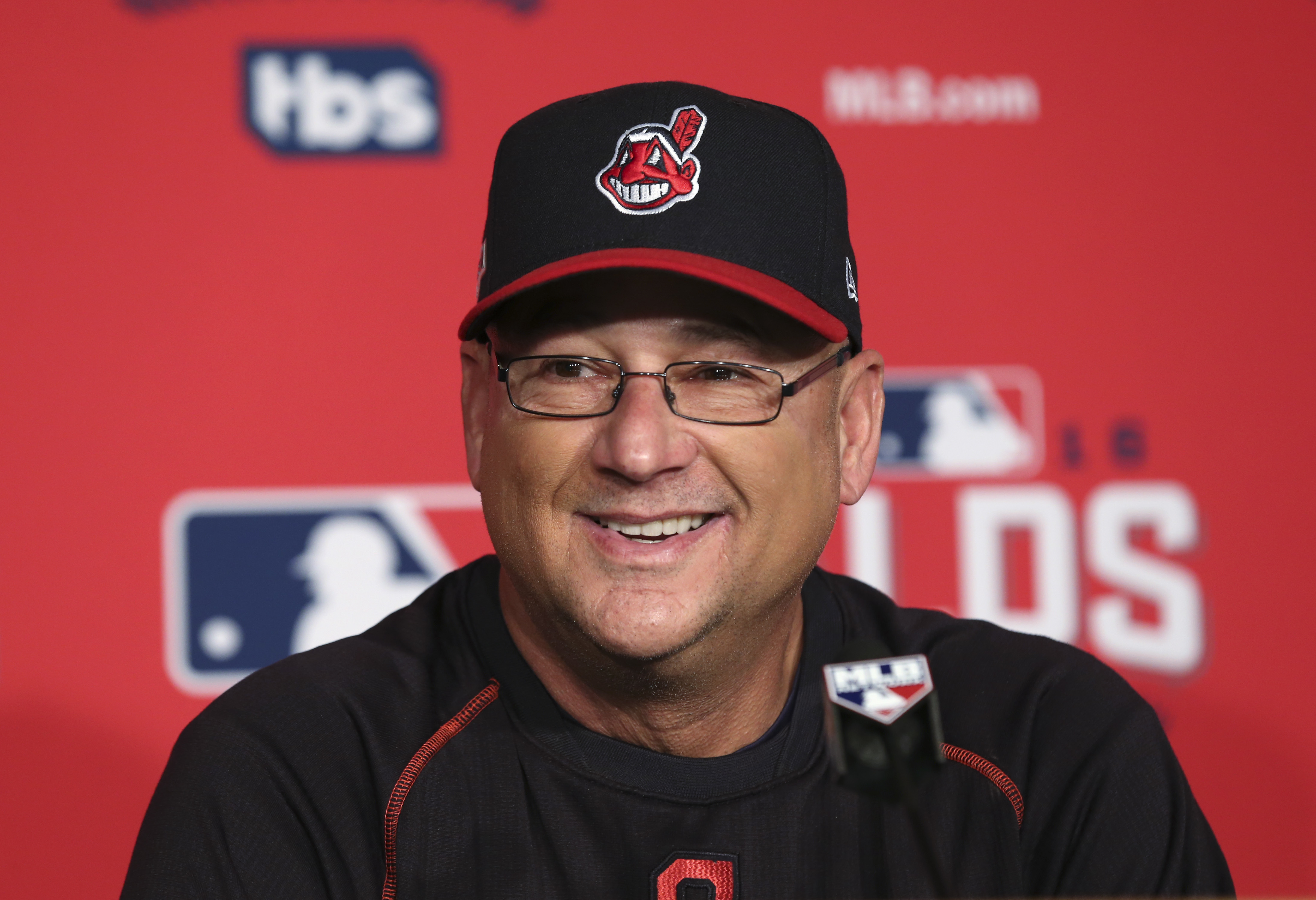 Cleveland Indians manager Terry Francona speaks to the media before Game 2 of baseball's American League Division Series against the Boston Red Sox, Friday, Oct. 7, 2016, in Cleveland. (AP Photo/Aaron Josefczyk)