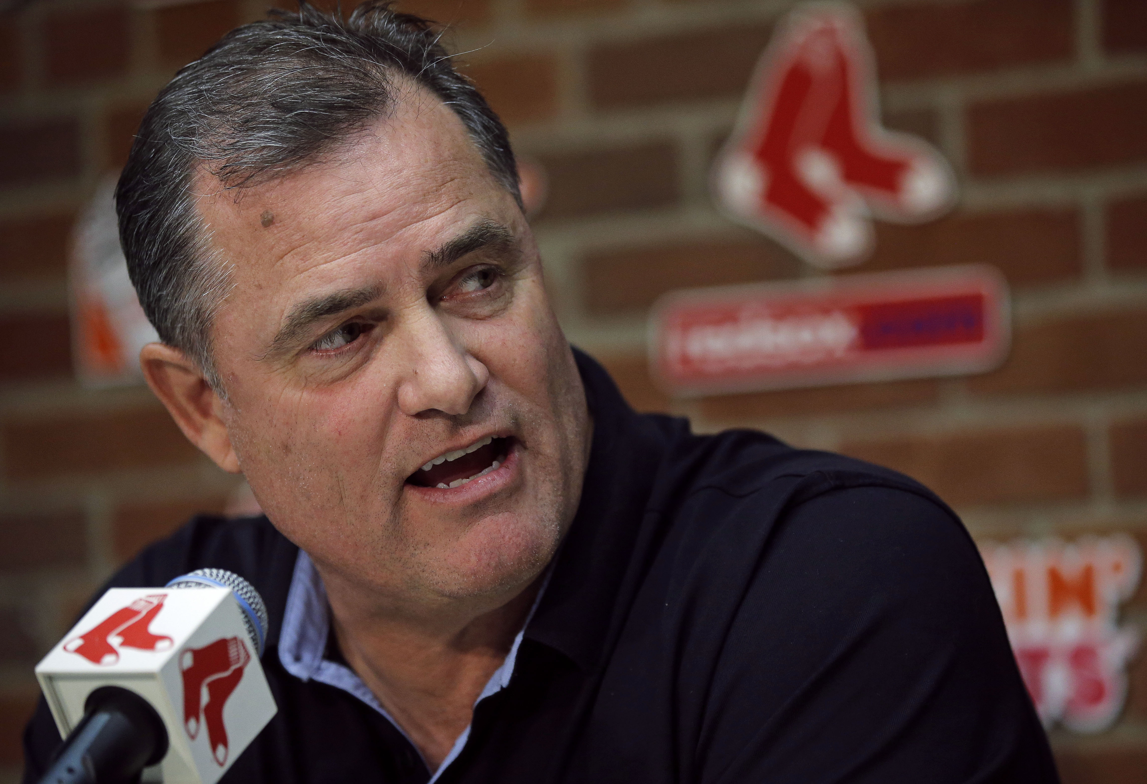 Boston Red Sox manager John Farrell answers a question during a news conference at Fenway Park, Tuesday, Oct. 11, 2016, in Boston. The Indians knocked the Red Sox out of the postseason, completing a three-game American League Division Series sweep. (AP Ph