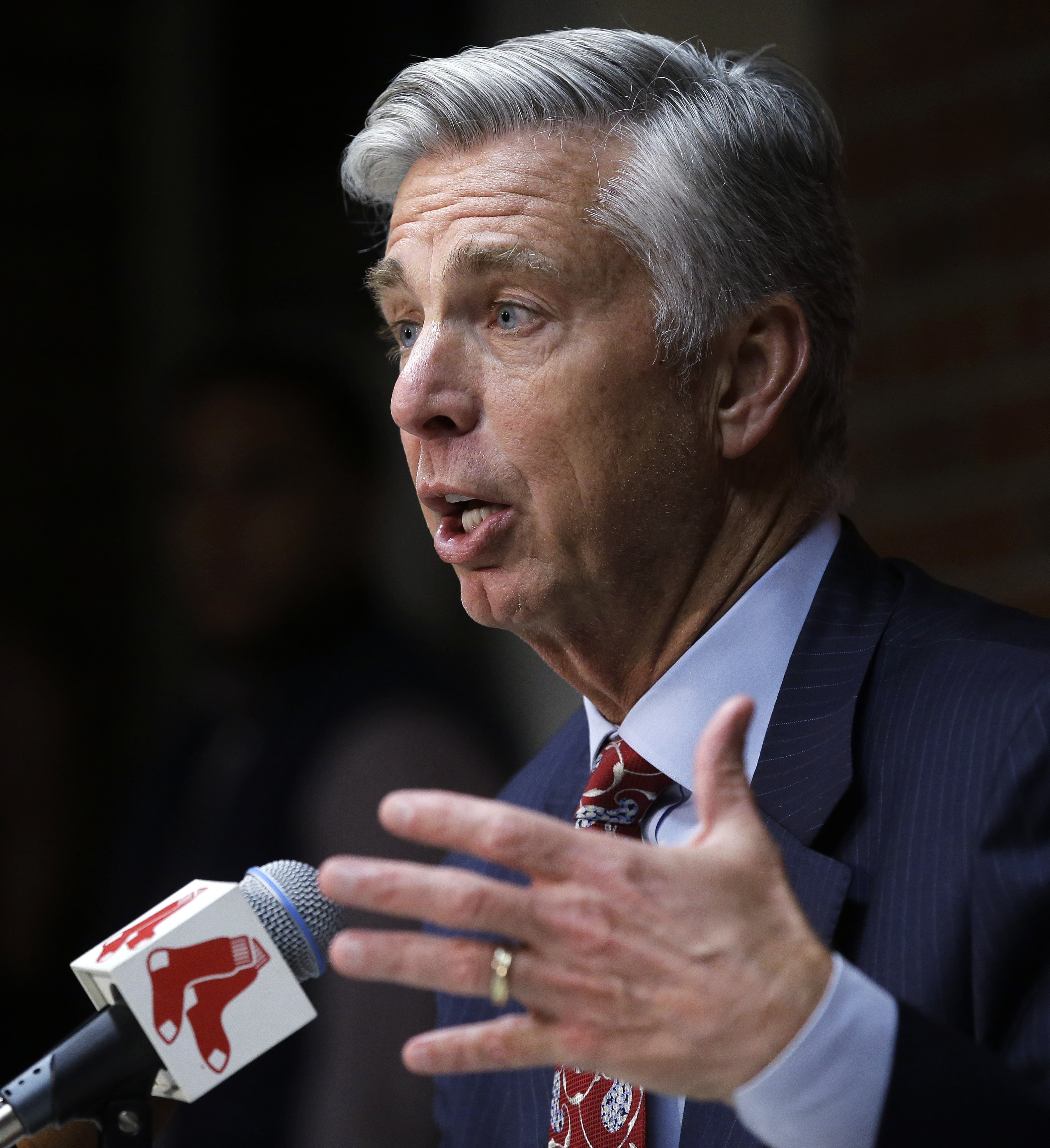 David Dombrowski, the Boston Red Sox president of baseball operations, gestures as he answers a question during a news conference at Fenway Park, Tuesday, Oct. 11, 2016, Boston. The Indians knocked the Red Sox out of the postseason, completing a three-gam