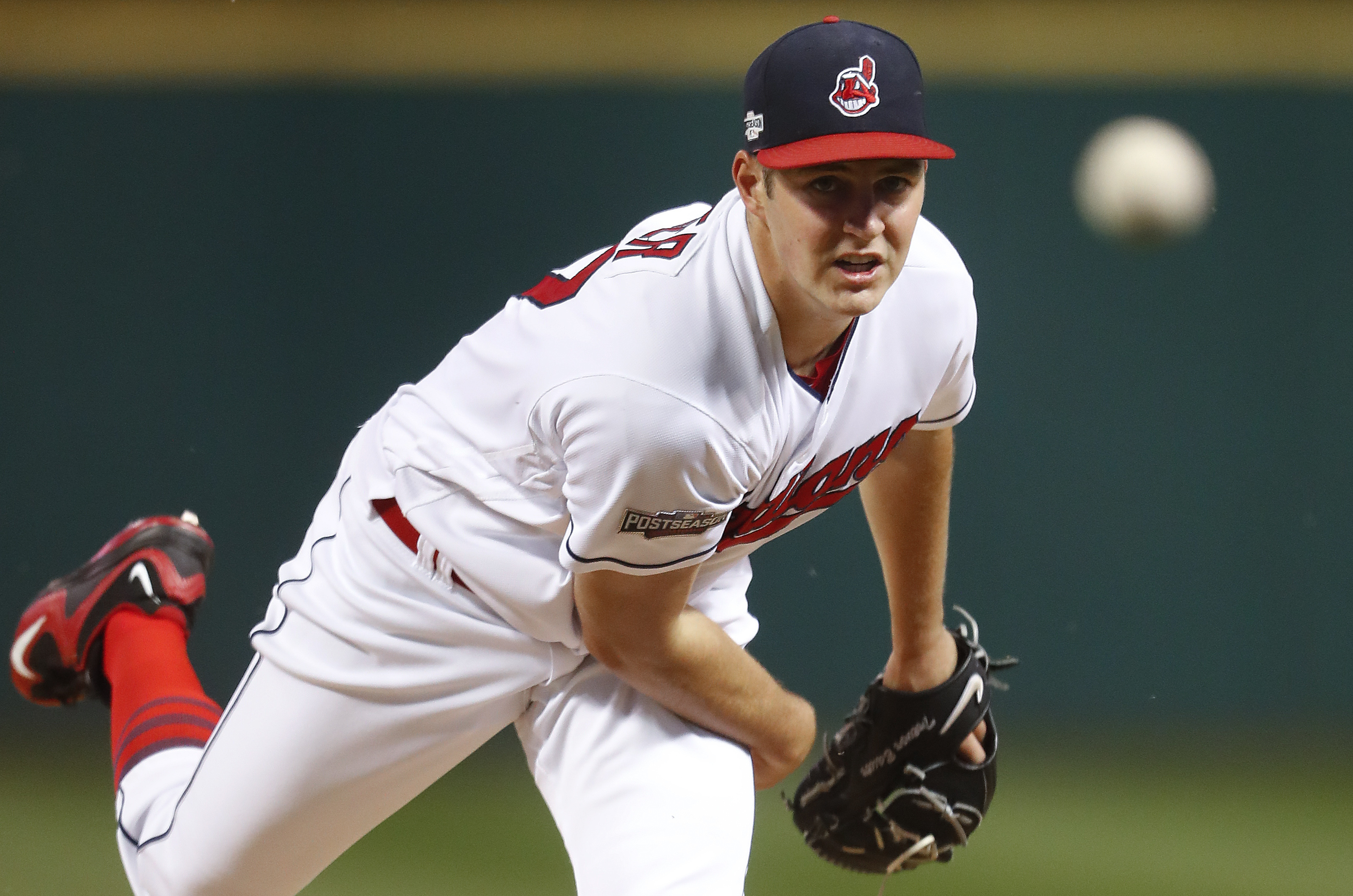 FILE - In this Oct. 6, 2016, file photo, Cleveland Indians pitcher Trevor Bauer throws against the Boston Red Sox in the first inning during Game 1 of baseball's American League Division Series in Cleveland.  Manager Terry Francona said Wednesday he'll st