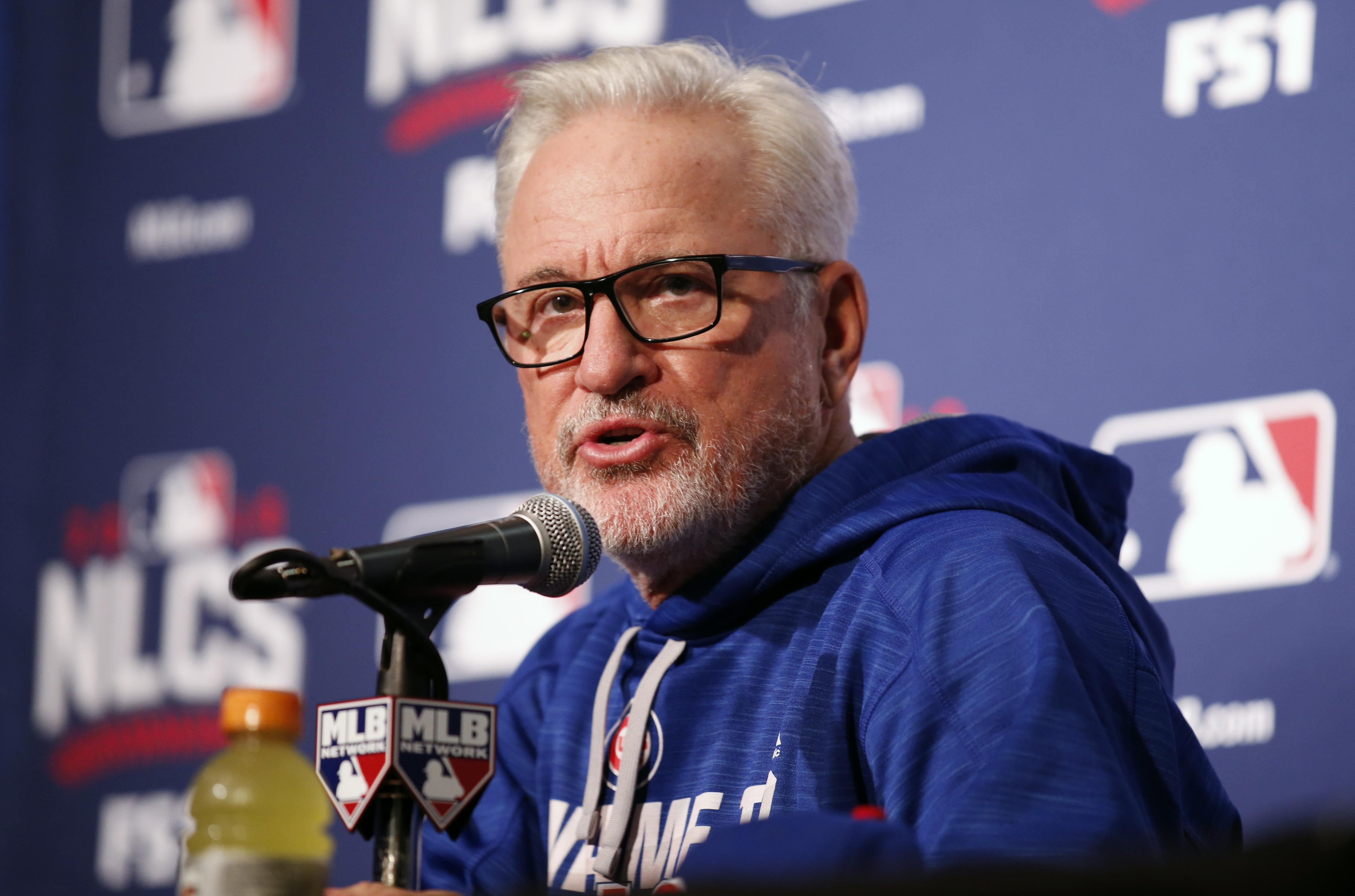 Chicago Cubs manager Joe Maddon answers a question during a news conference before Game 1 of baseball's National League Championship Series against the Los Angeles Dodgers, Saturday, Oct. 15, 2016, in Chicago. (AP Photo/Nam Y. Huh)