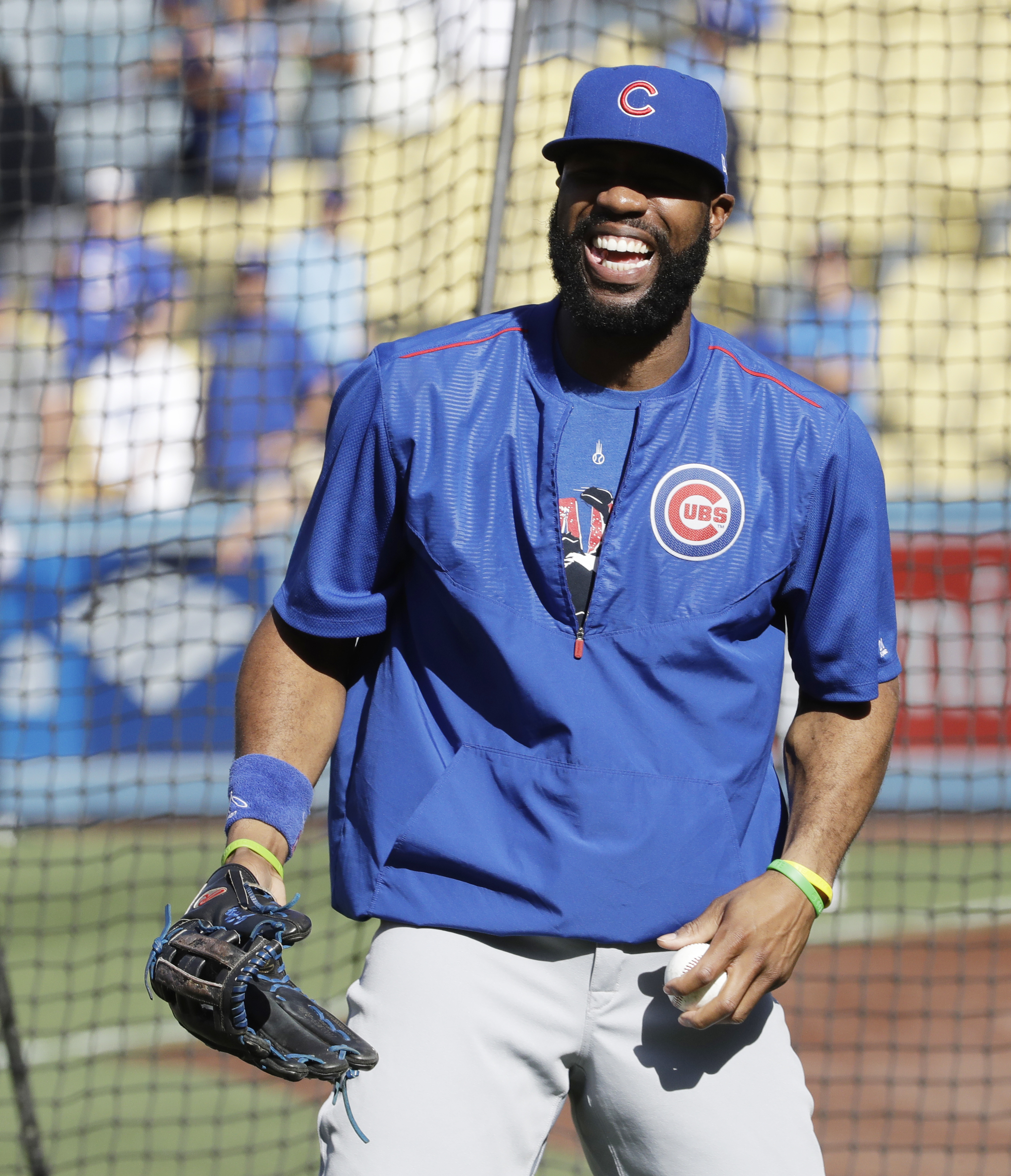 Chicago Cubs' Jason Heyward smiles before Game 3 of the National League baseball championship series against the Los Angeles Dodgers Tuesday, Oct. 18, 2016, in Los Angeles. (AP Photo/David J. Phillip)