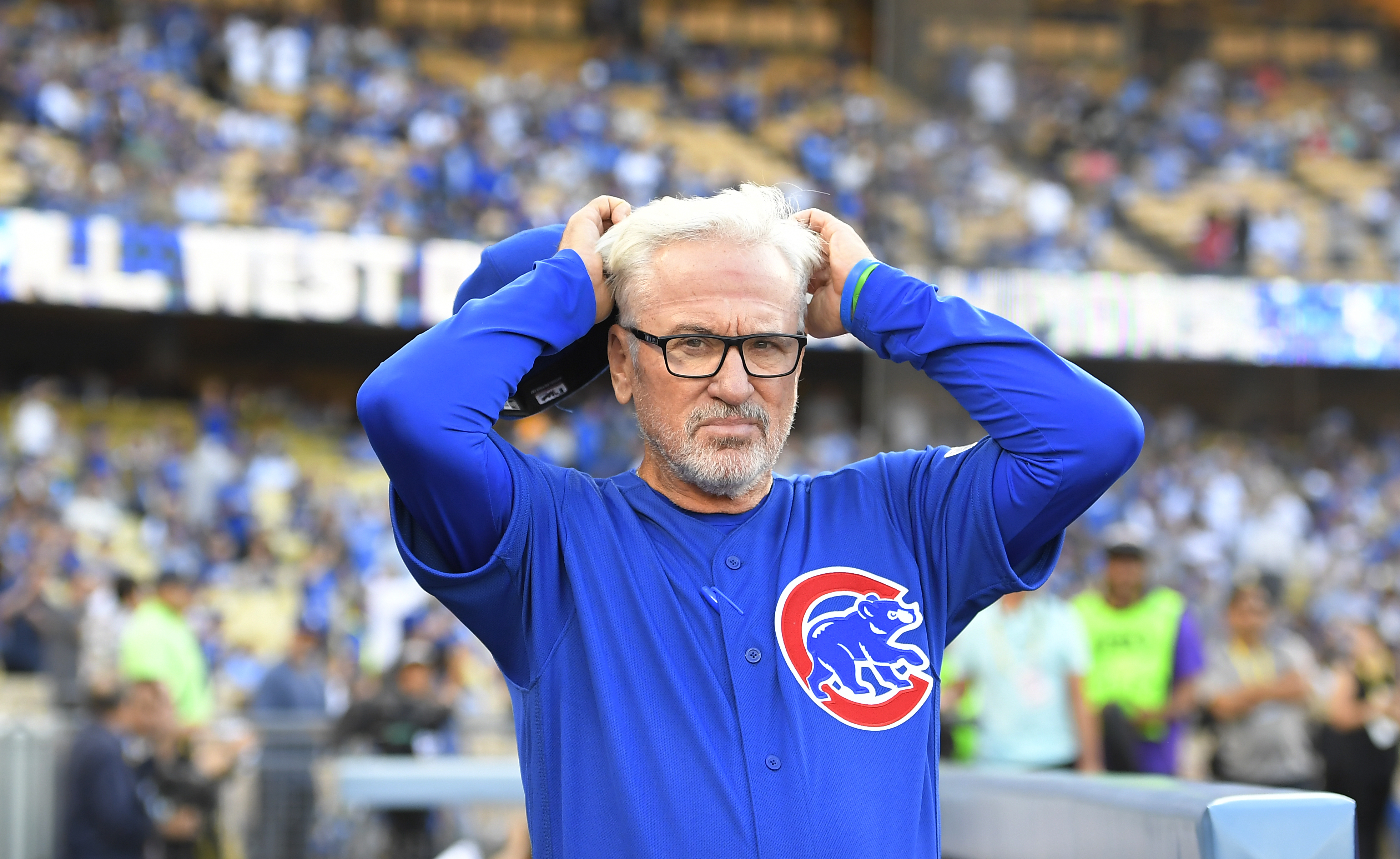 Chicago Cubs manager Joe Maddon looks around Dodgers Stadium before Game 3 of the National League baseball championship series against the Los Angeles Dodgers Tuesday, Oct. 18, 2016, in Los Angeles. (AP Photo/Mark J. Terrill)