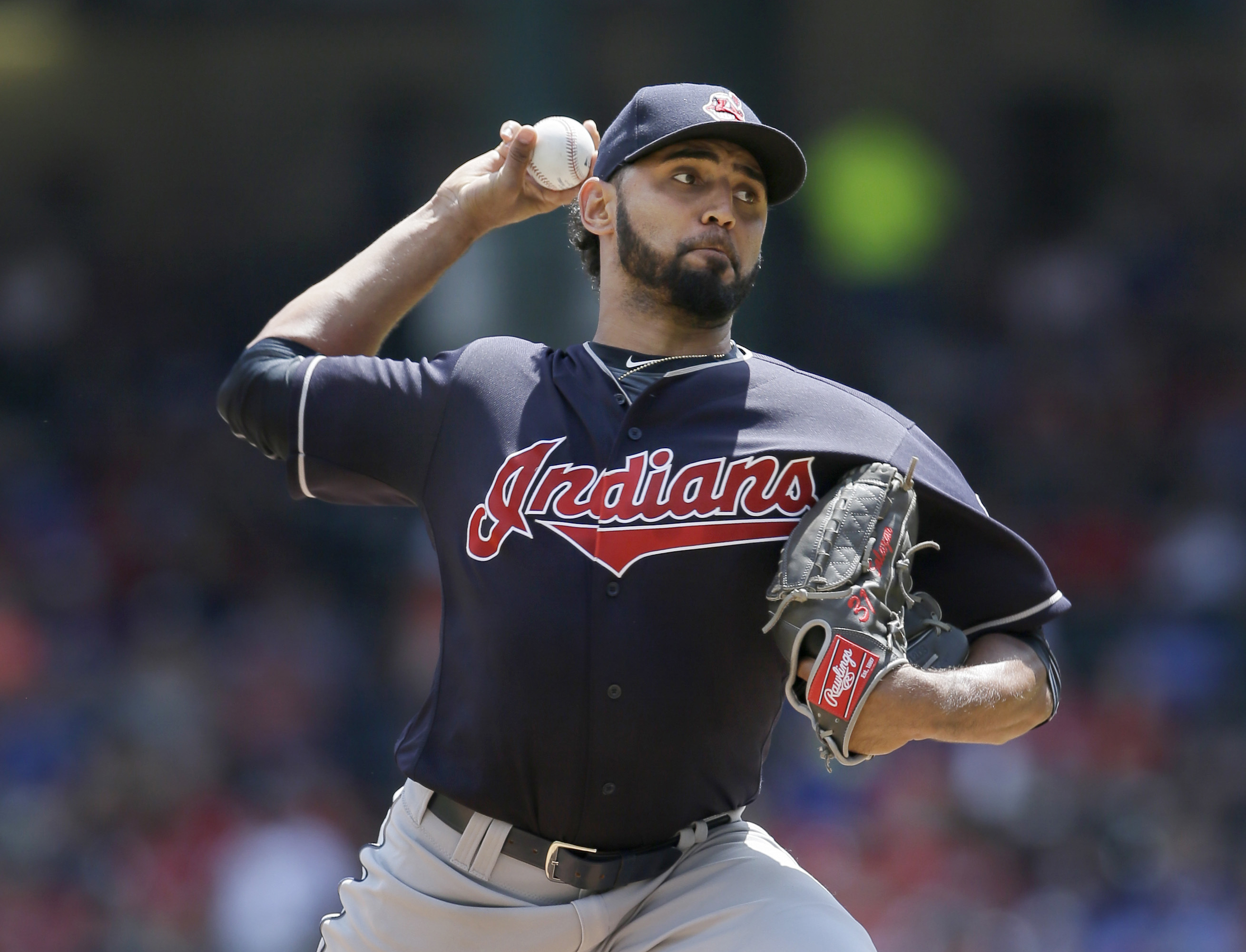 FILE - In this Aug. 28, 2016, file photo, Cleveland Indians starting pitcher Danny Salazar throws during the team's baseball game against the Texas Rangers in Arlington, Texas. Salazar, who hasnt pitched since Sept. 9 because of tightness in his right for