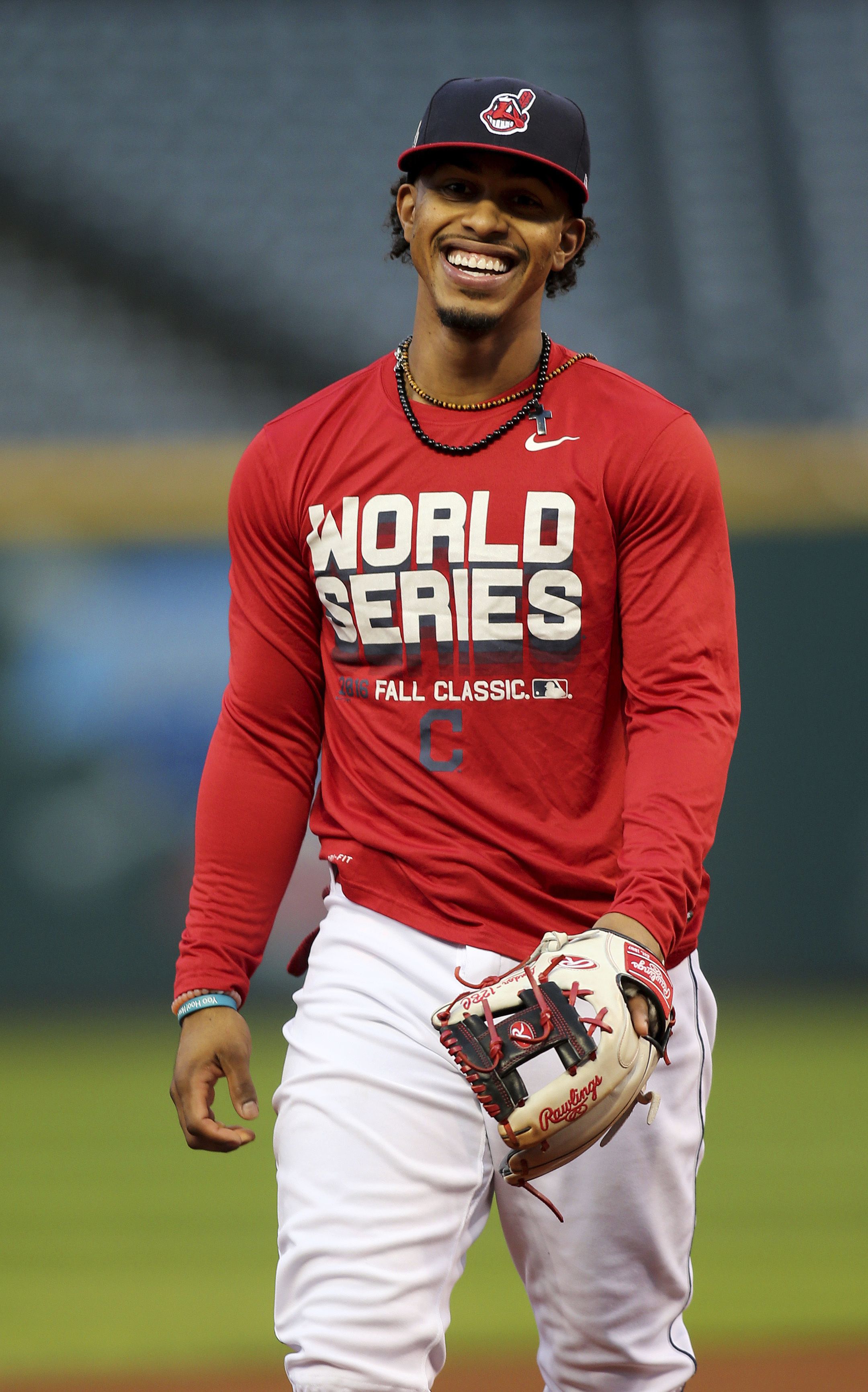 Cleveland Indians Francisco Lindor smiles during a team practice for baseball's upcoming World Serie against the Chicago Cubss, Sunday, Oct. 23, 2016, in Cleveland. (AP Photo/Aaron Josefczyk)