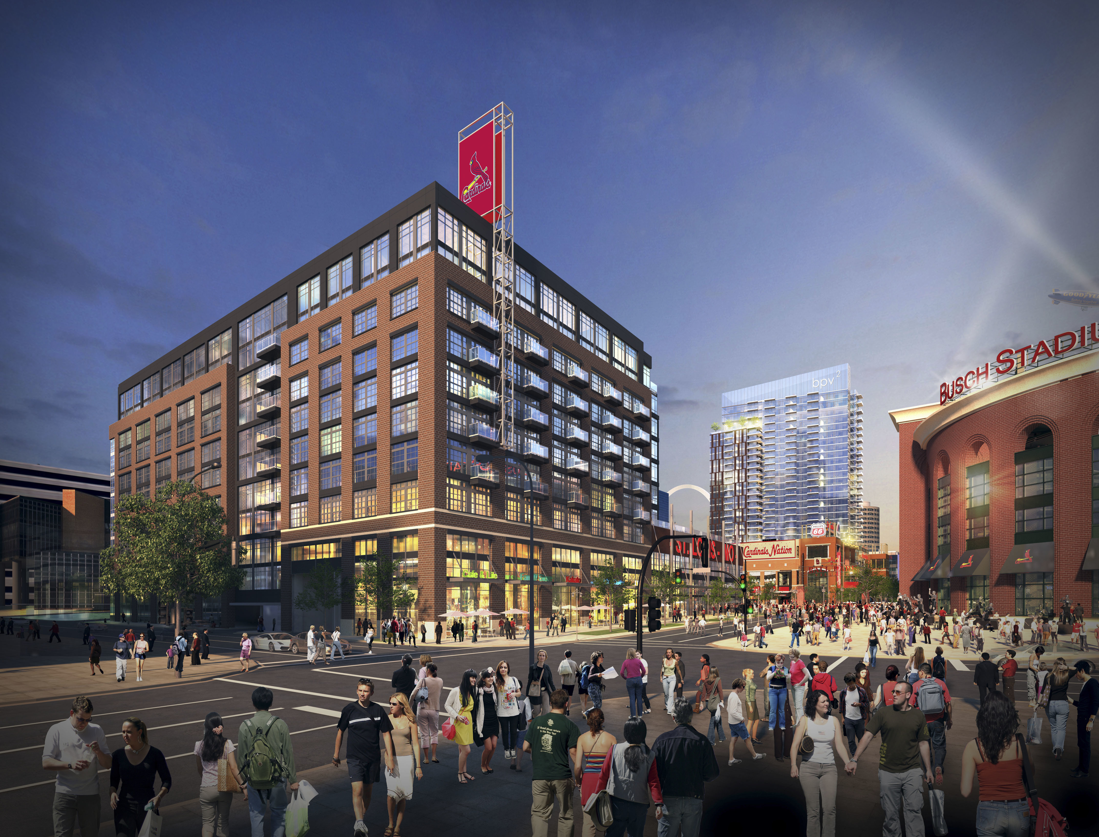 This artist rendering provided Arnold Design and the St. Louis Cardinals baseball team shows plans that were announced Tuesday, Oct. 25, 2016, for the second phase of Ballpark Village next to Busch Stadium in downtown St. Louis. It will feature a 29-story