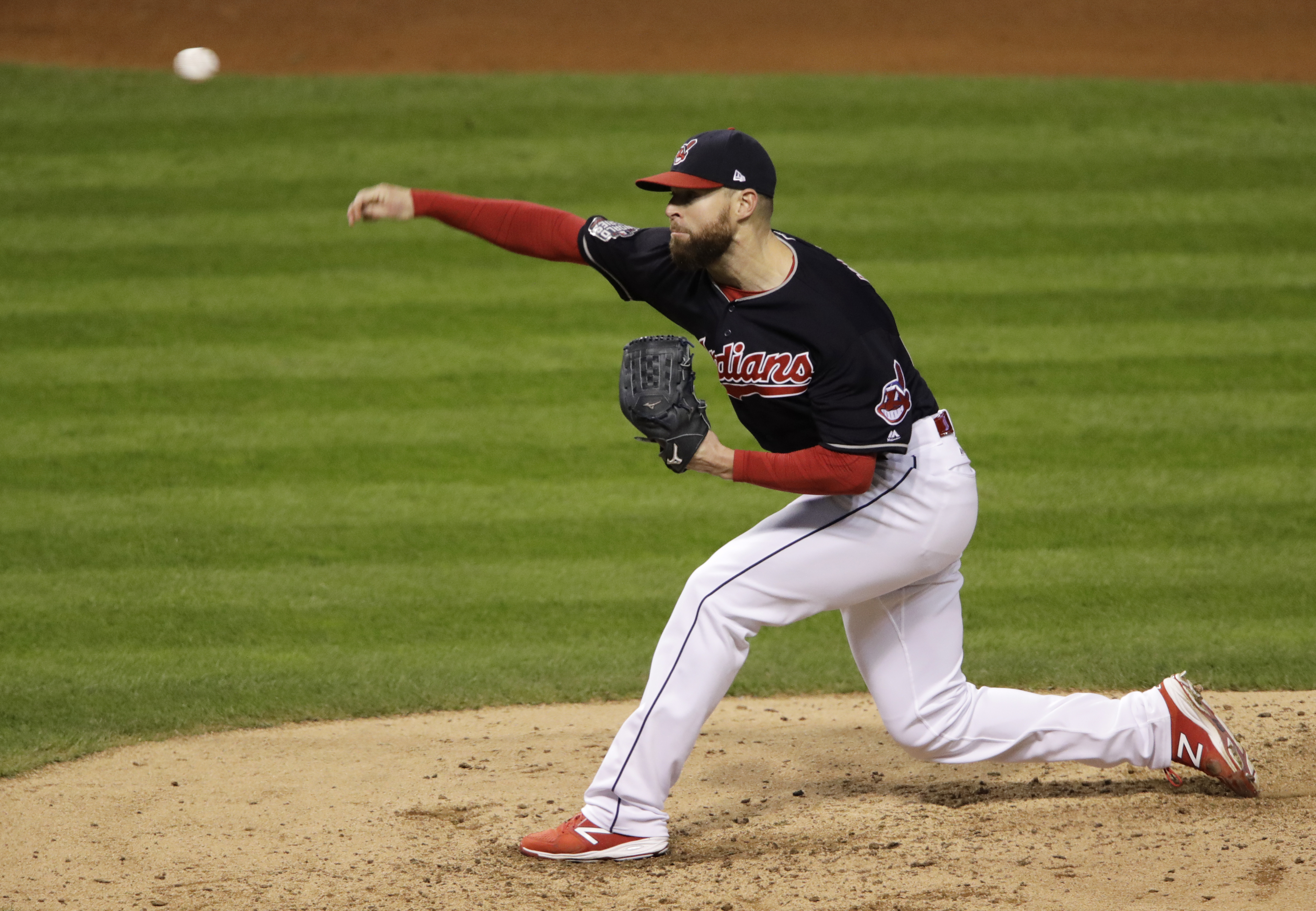 Cleveland Indians starting pitcher Corey Kluber throws during the fifth inning of Game 1 of the Major League Baseball World Series against the Chicago Cubs Tuesday, Oct. 25, 2016, in Cleveland. (AP Photo/Gene J. Puskar)
