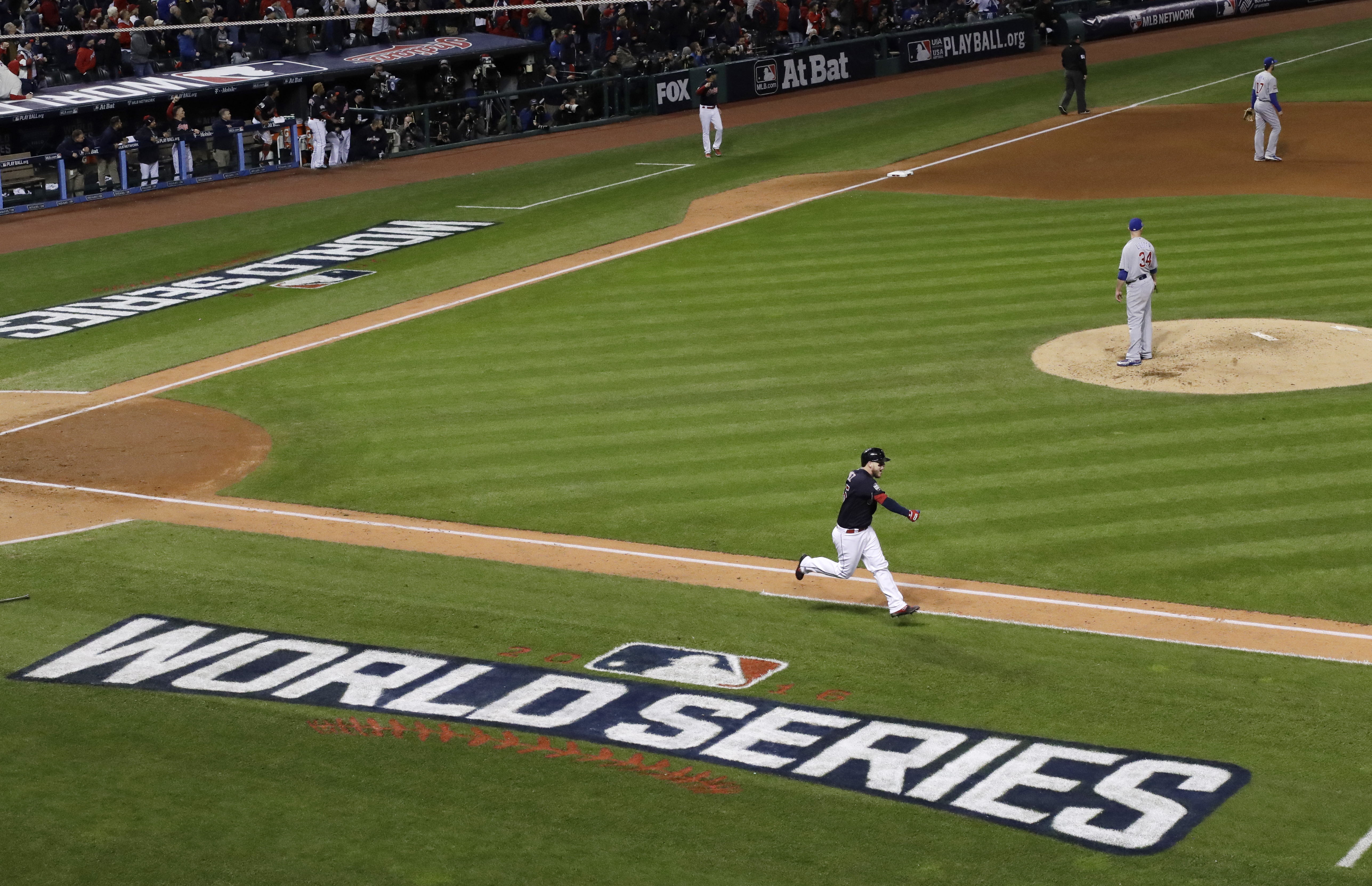 Cleveland Indians' Roberto Perez hits a home run during the fourth inning of Game 1 of the Major League Baseball World Series against the Chicago Cubs Tuesday, Oct. 25, 2016, in Cleveland. (AP Photo/David J. Phillip)