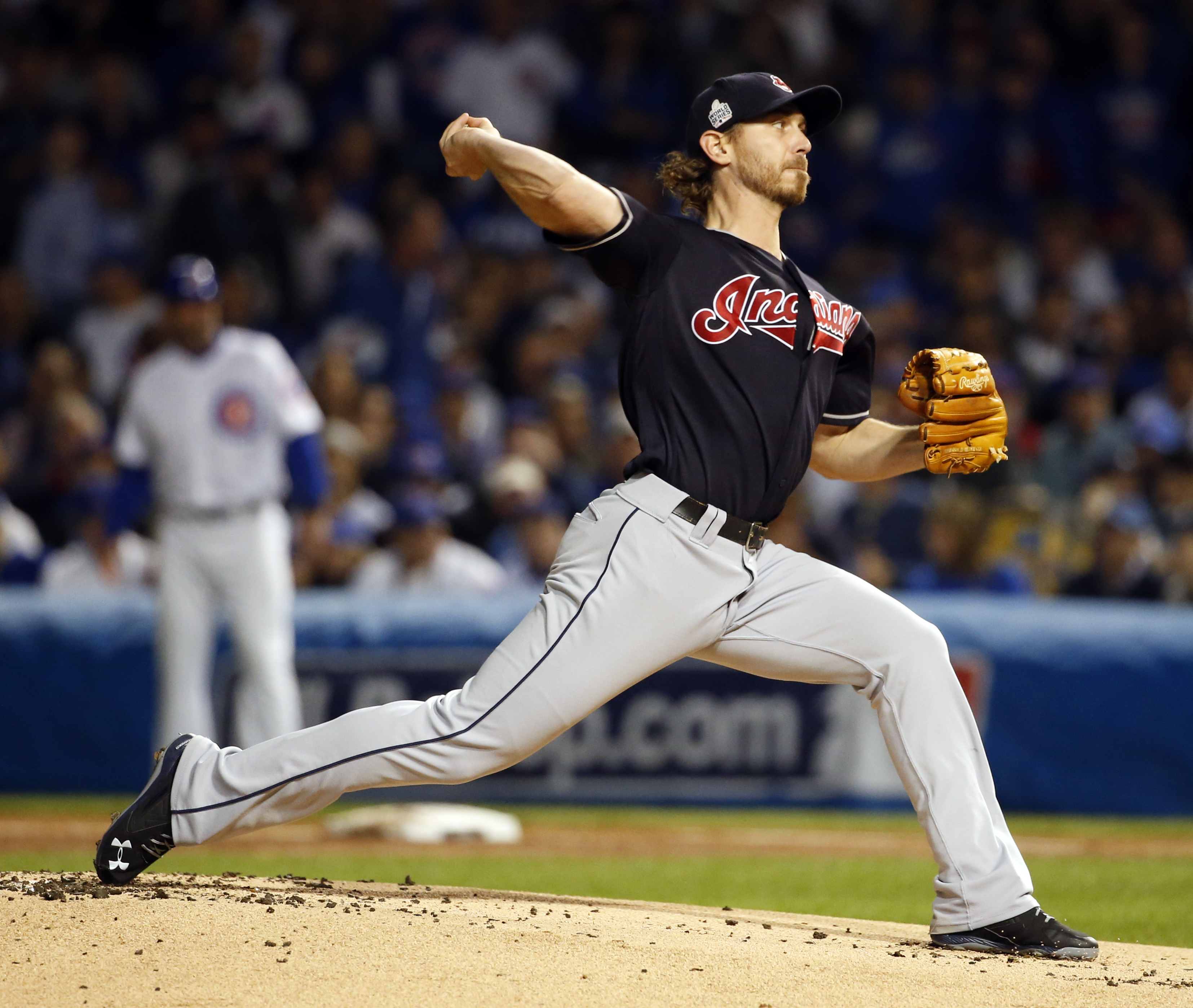 Cleveland Indians starting pitcher Josh Tomlin (43) throws during the first inning of Game 3 of the Major League Baseball World Series against the Chicago Cubs, Friday, Oct. 28, 2016, in Chicago. (AP Photo/Nam Y. Huh)