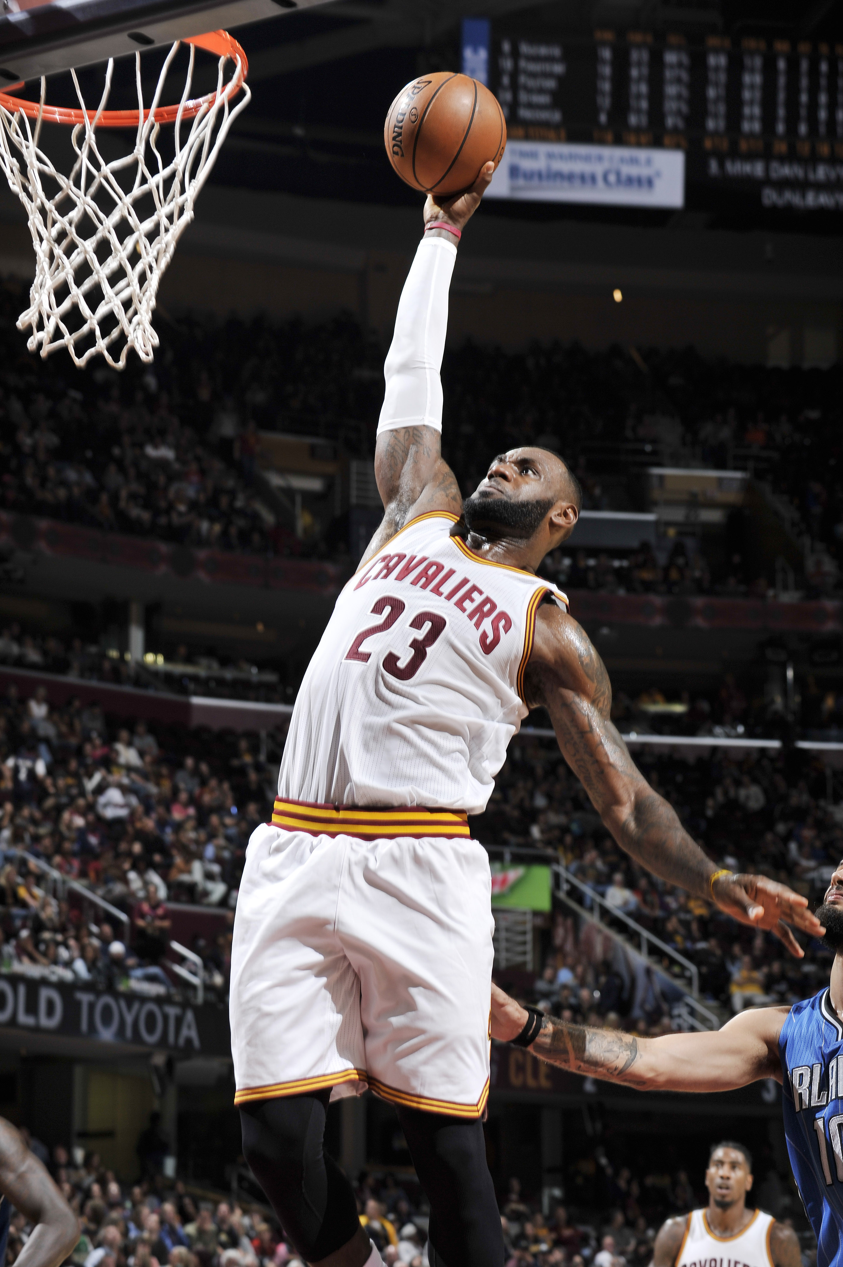 CLEVELAND, OH - OCTOBER 29:  LeBron James #23 of the Cleveland Cavaliers dunks against the Orlando Magic on October 29, 2016 at Quicken Loans Arena in Cleveland, Ohio.  (Photo by David Liam Kyle/NBAE via Getty Images)